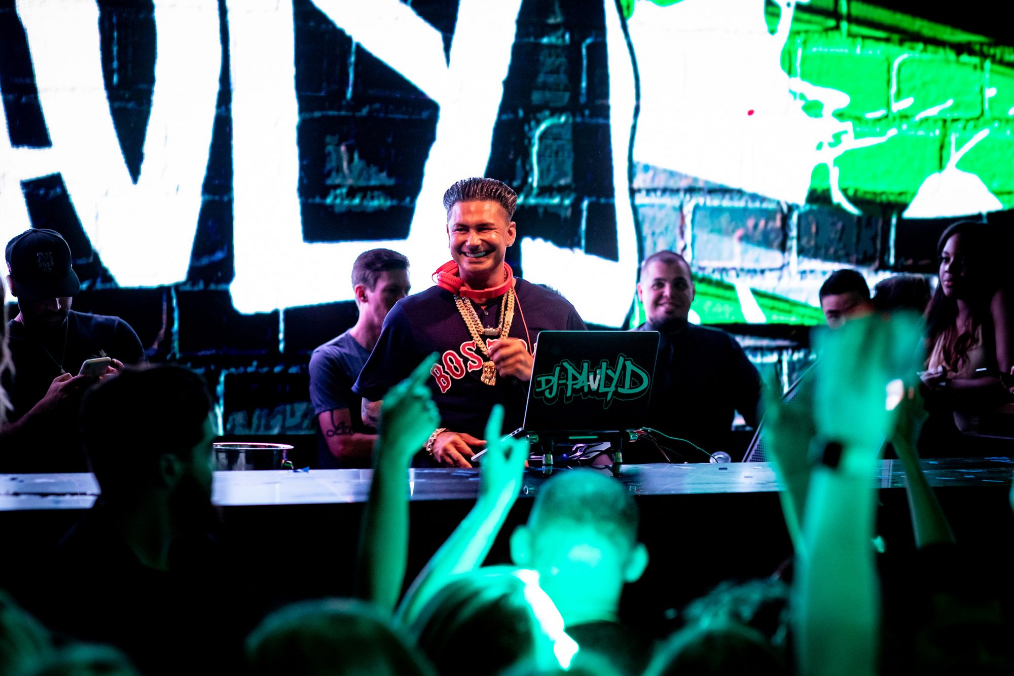 Pauly D DJing and enjoying an early birthday celebration at The Grand in Boston