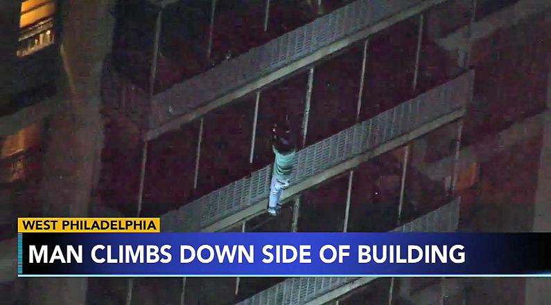 A man in Philly scaled down a 19-floor building to escape a fire