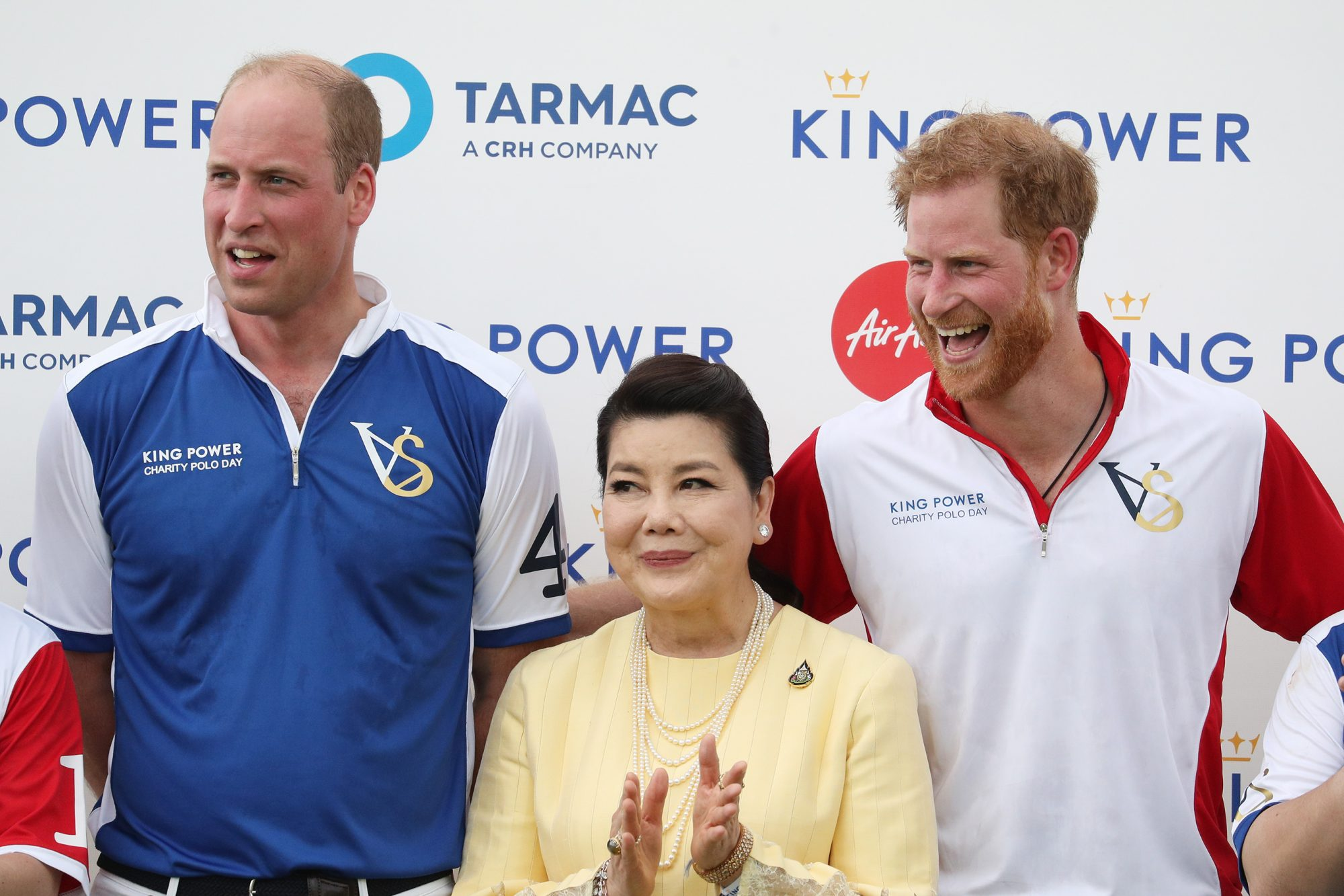 The Duke of Cambridge and Duke of Sussex, with Aimon Srivaddhanaprabha, after they played in the Khun Vichai Srivaddhanaprabha Memorial Polo Trophy during the King Power Royal Charity Polo Day at Billingbear Polo Club, Wokingham, Berkshire. (Photo by Andrew Matthews/PA Images via Getty Images)