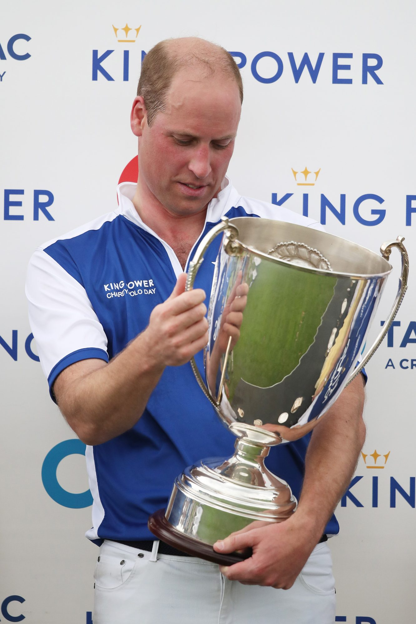The Duke of Cambridge after winning the Khun Vichai Srivaddhanaprabha Memorial Polo Trophy during the King Power Royal Charity Polo Day at Billingbear Polo Club, Wokingham, Berkshire. (Photo by Andrew Matthews/PA Images via Getty Images)