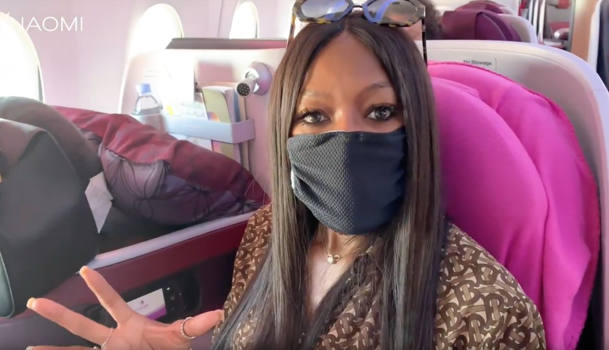 Naomi Campbell airplane routine