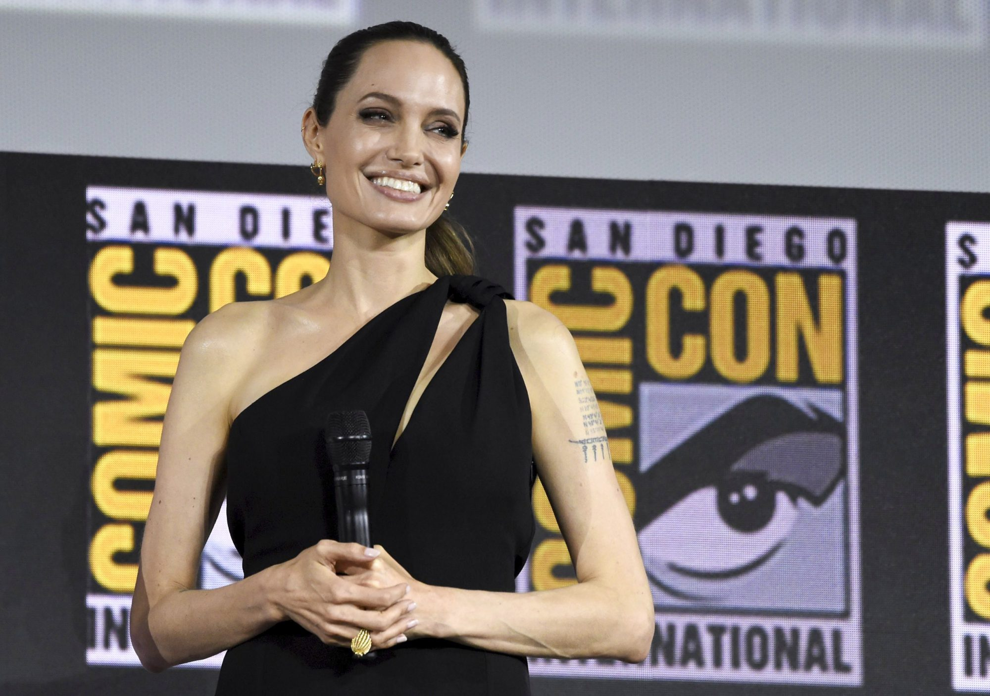 Mandatory Credit: Photo by Chris Pizzello/Invision/AP/Shutterstock (10342690d) Angelina Jolie attends the Marvel Studios panel on day three of Comic-Con International, in San Diego 2019 Comic-Con - Marvel Studios, San Diego, USA - 20 Jul 2019