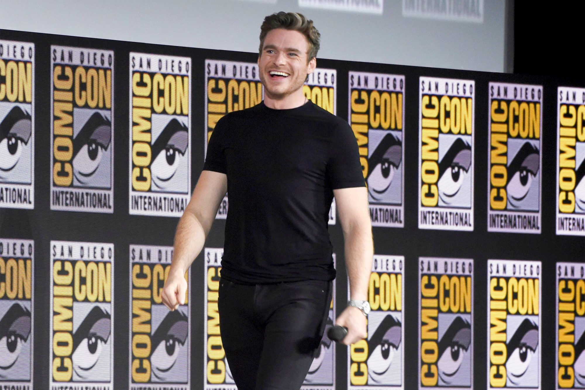 Mandatory Credit: Photo by Chris Pizzello/Invision/AP/Shutterstock (10342690f) Richard Madden walks on stage at the Marvel Studios panel on day three of Comic-Con International, in San Diego 2019 Comic-Con - Marvel Studios, San Diego, USA - 20 Jul 2019