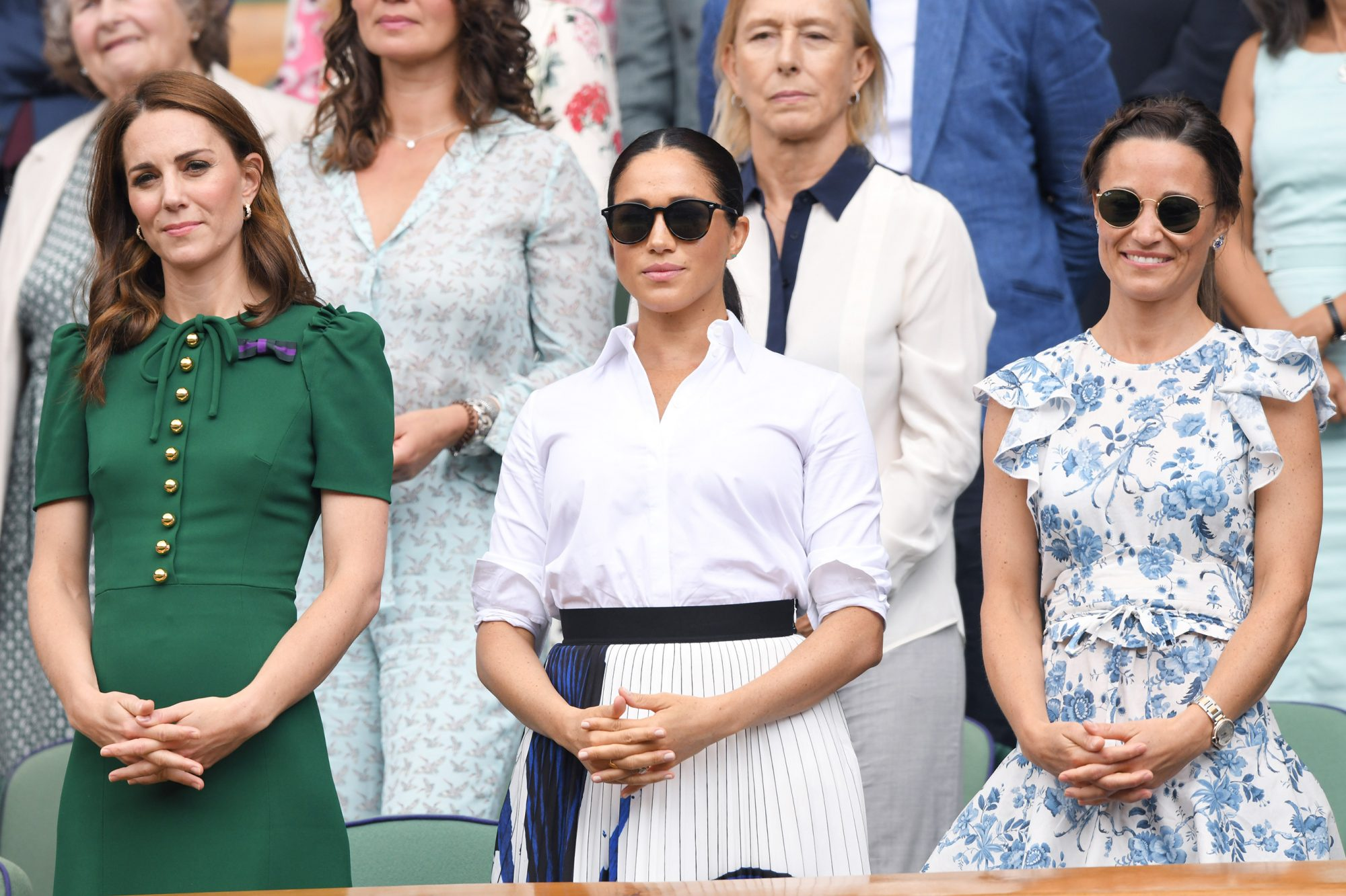 LONDON, ENGLAND - JULY 13: Catherine, Duchess of Cambridge, Meghan, Duchess of Sussex and Pippa Middleton in the Royal Box on Centre Court during day twelve of the Wimbledon Tennis Championships at All England Lawn Tennis and Croquet Club on July 13, 2019 in London, England. (Photo by Karwai Tang/Getty Images)