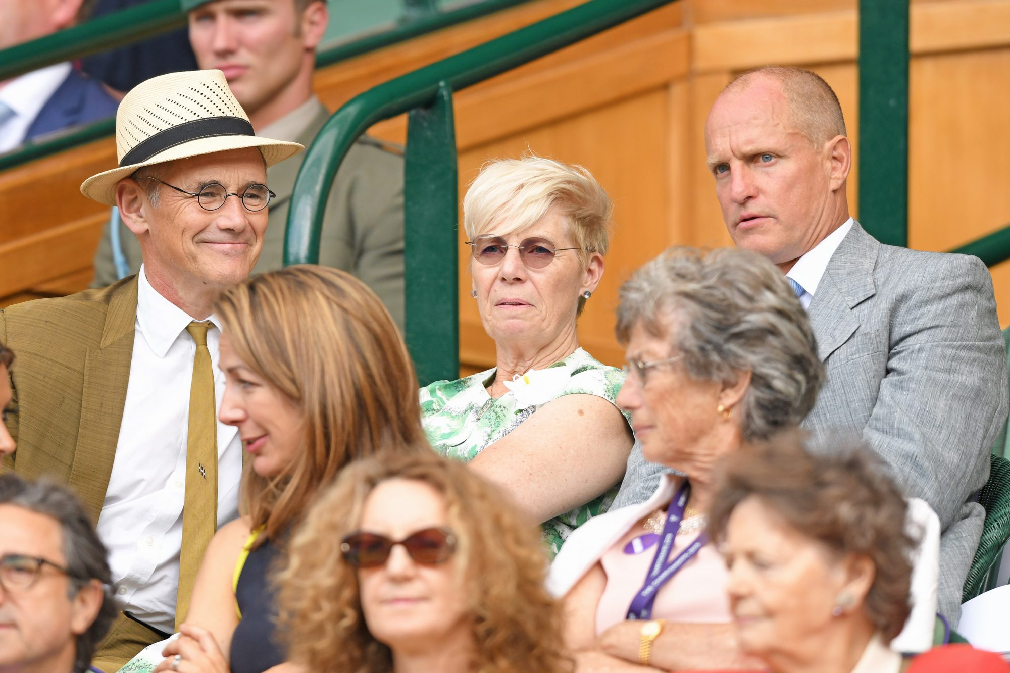 LONDON, ENGLAND - JULY 13: Mark Rylance, Milena Gabanelli and Woody Harrelson in the Royal Box on Centre Court during day twelve of the Wimbledon Tennis Championships at All England Lawn Tennis and Croquet Club on July 13, 2019 in London, England. (Photo by Karwai Tang/Getty Images)