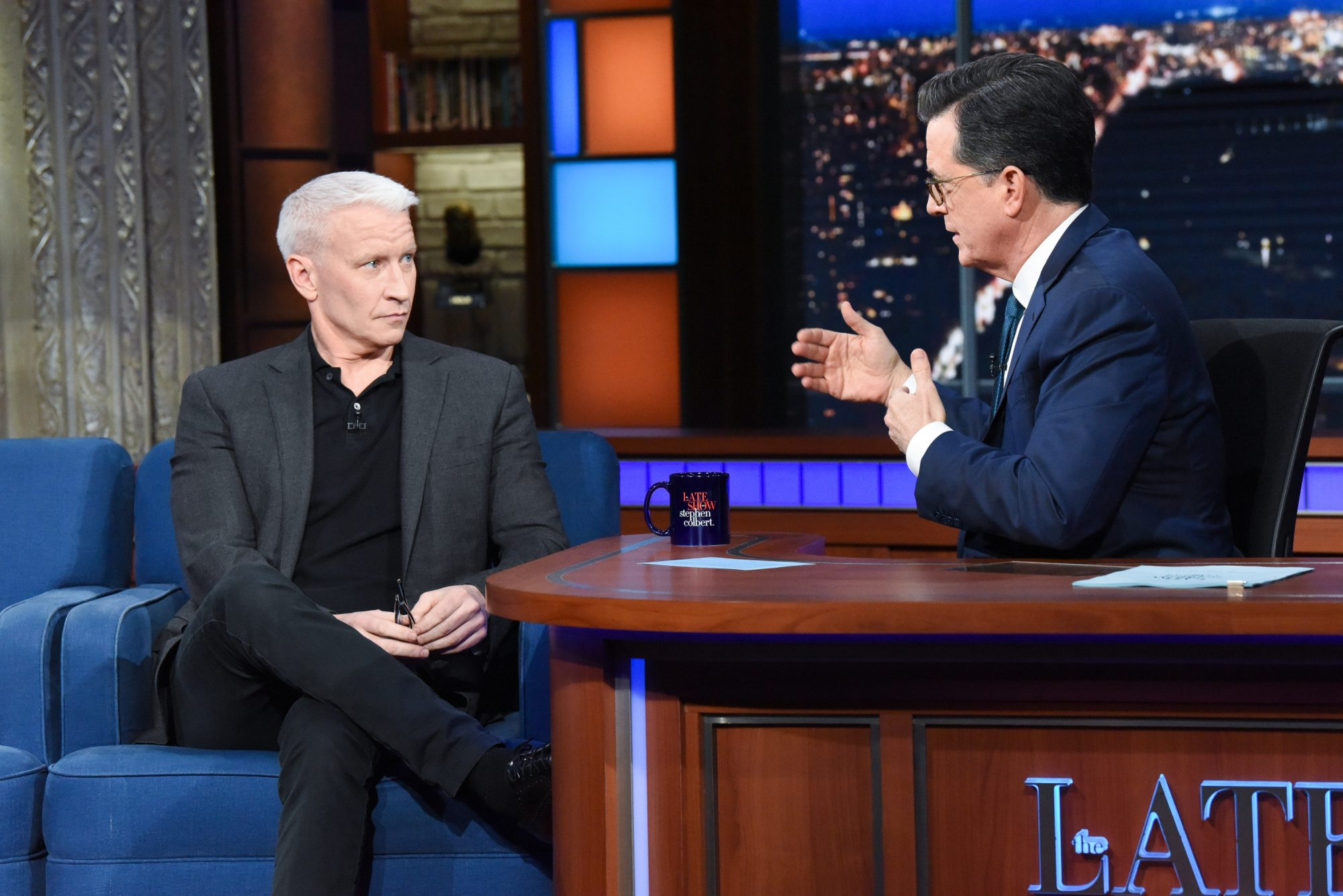 Stephen Colbert and Anderson Cooper