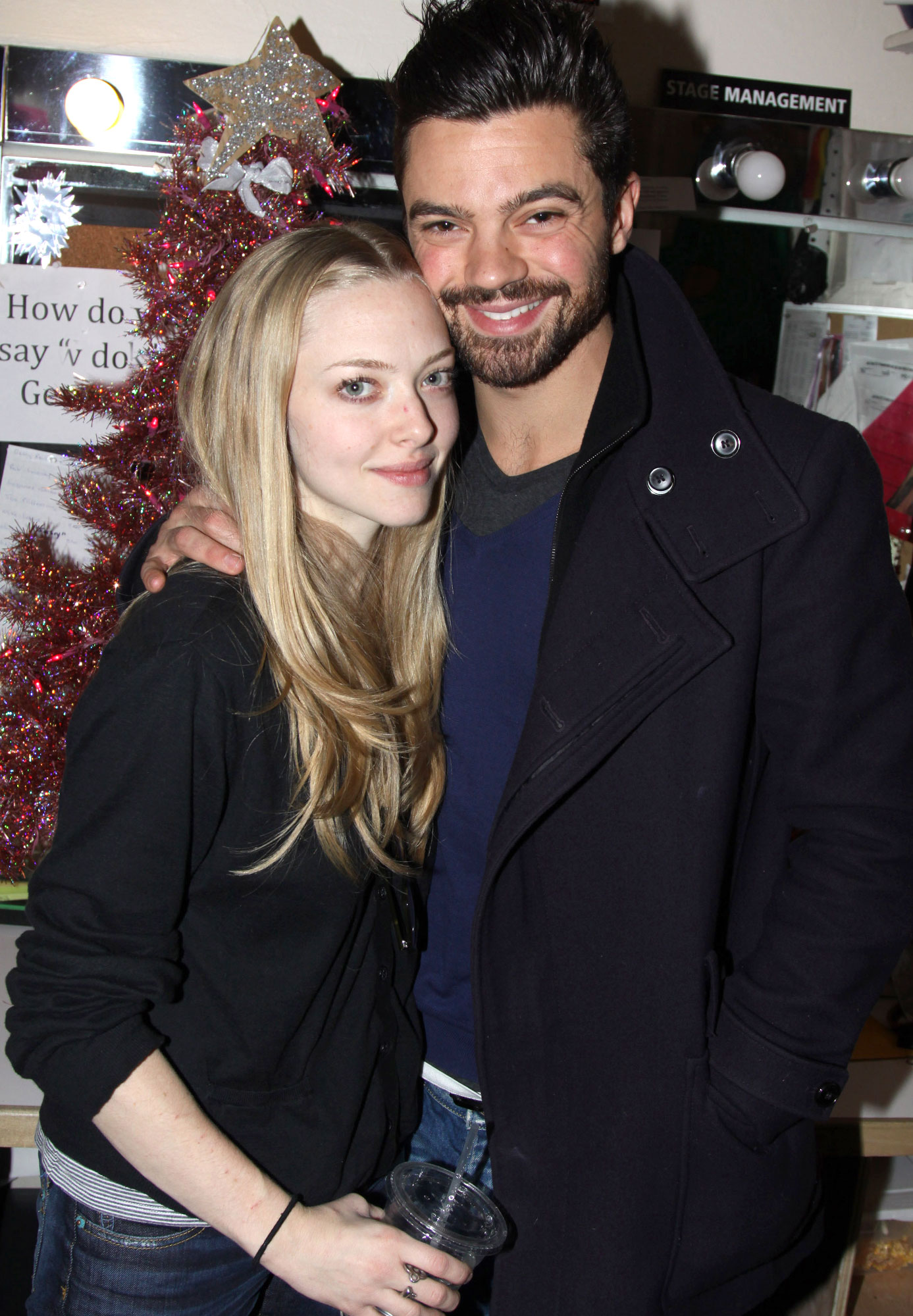 "Amanda Seyfried And Dominic Cooper Visit ""Rock Of Ages"" On Broadway"