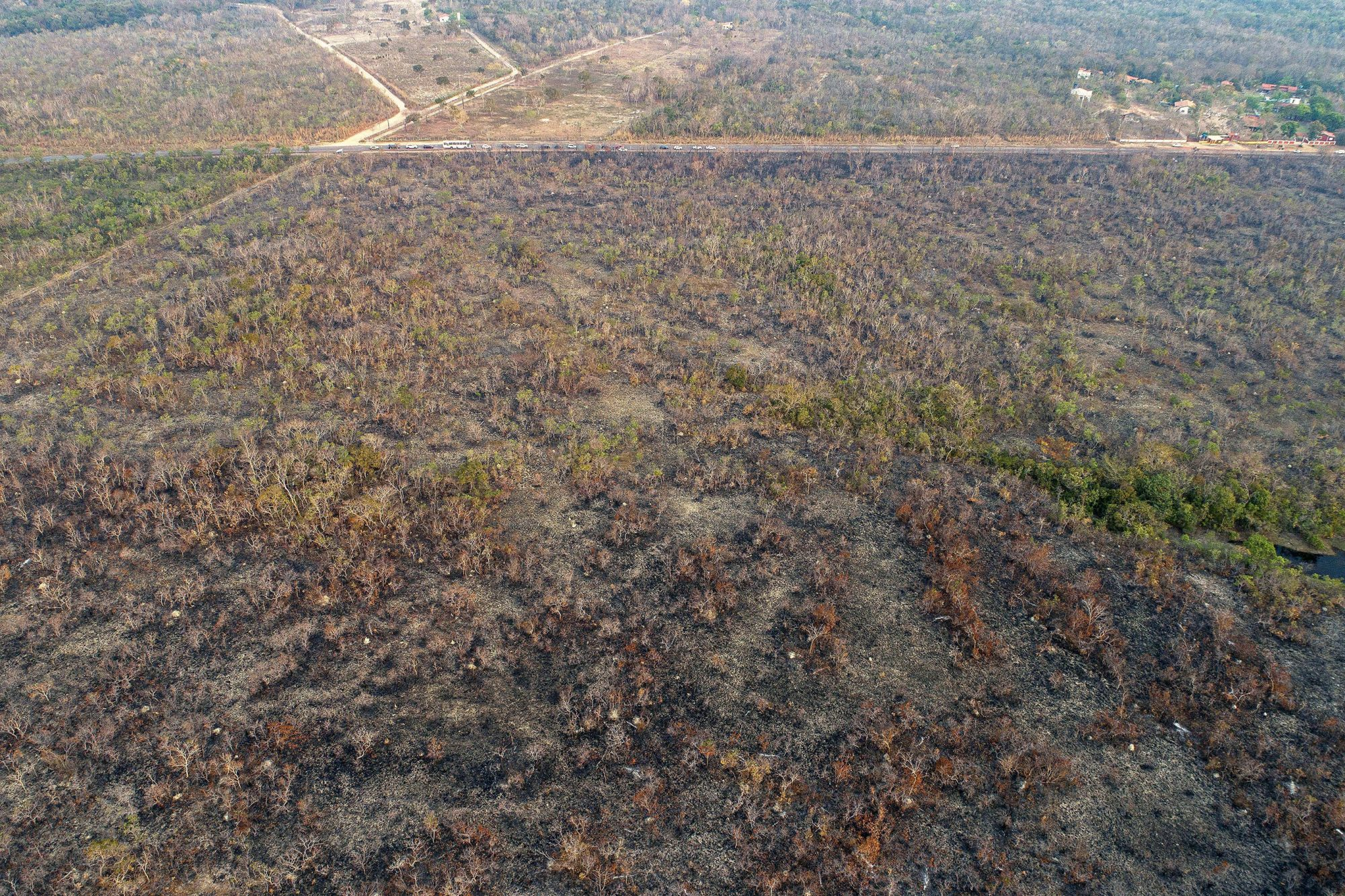 An aerial view of an area of land that has been scorched by fire in the state of Mato Grosso, Brazil, 20 August 2019 (issued 22 August 2019). According to media reports, the Brazilian Amazon region is suffering a record amount of fires, with an 84 percent increase on the same period last year. Brazilian Amazon region suffers record amount of fires, Mato Grosso, Brazil - 20 Aug 2019