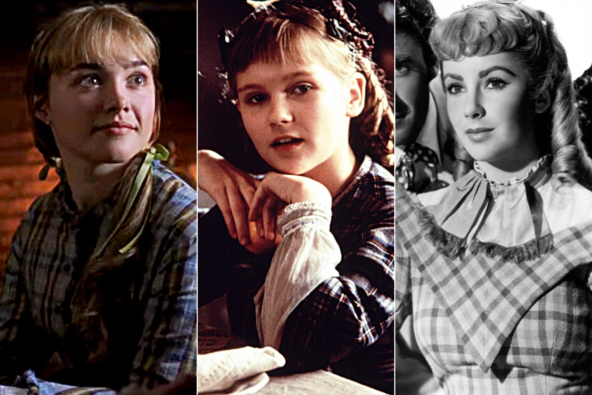 Florence Pugh, Kirsten Dunst and Elizabeth Taylor as Amy March
