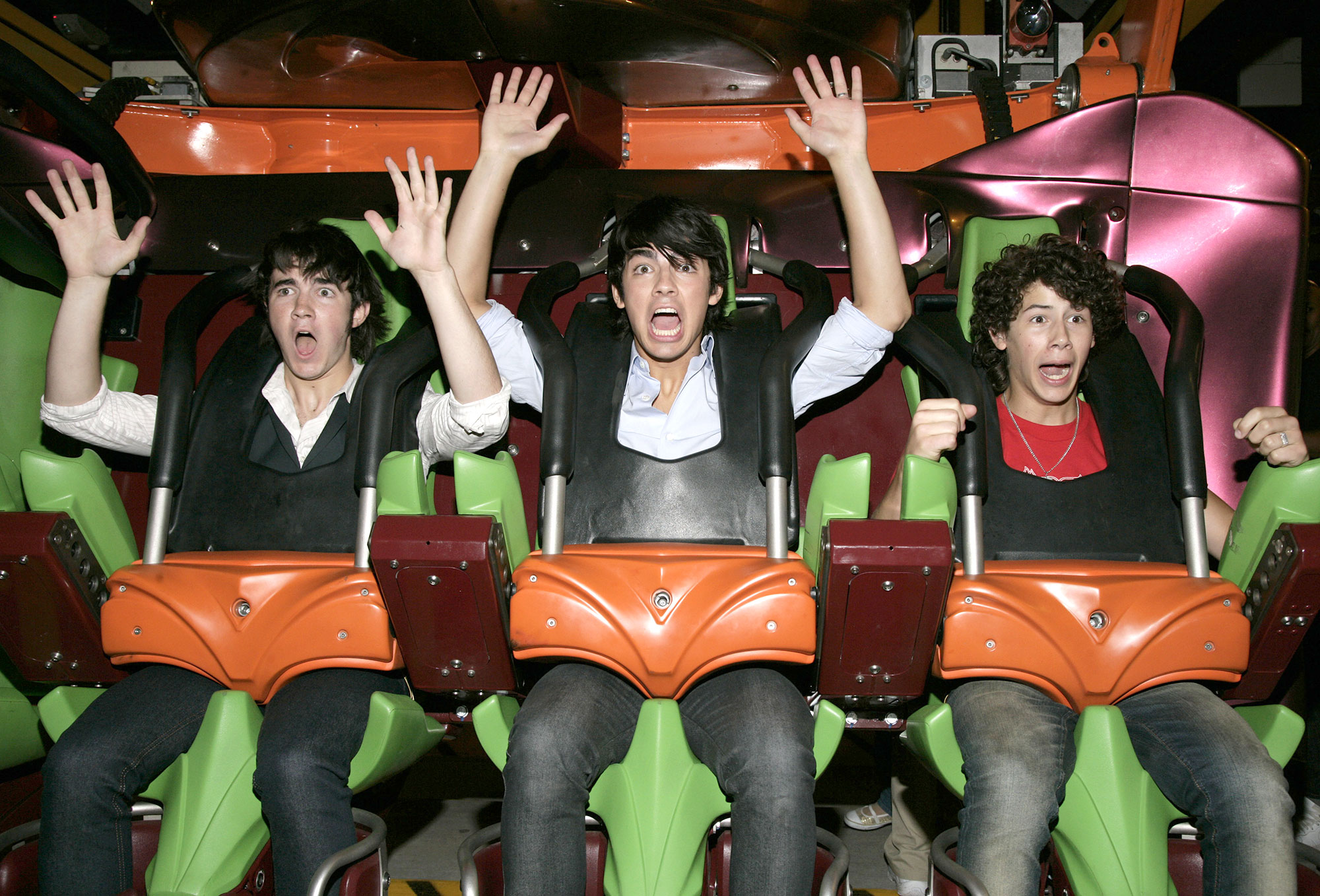 Miley Cyrus and The Jonas Brothers Visit Six Flags Magic Mountain