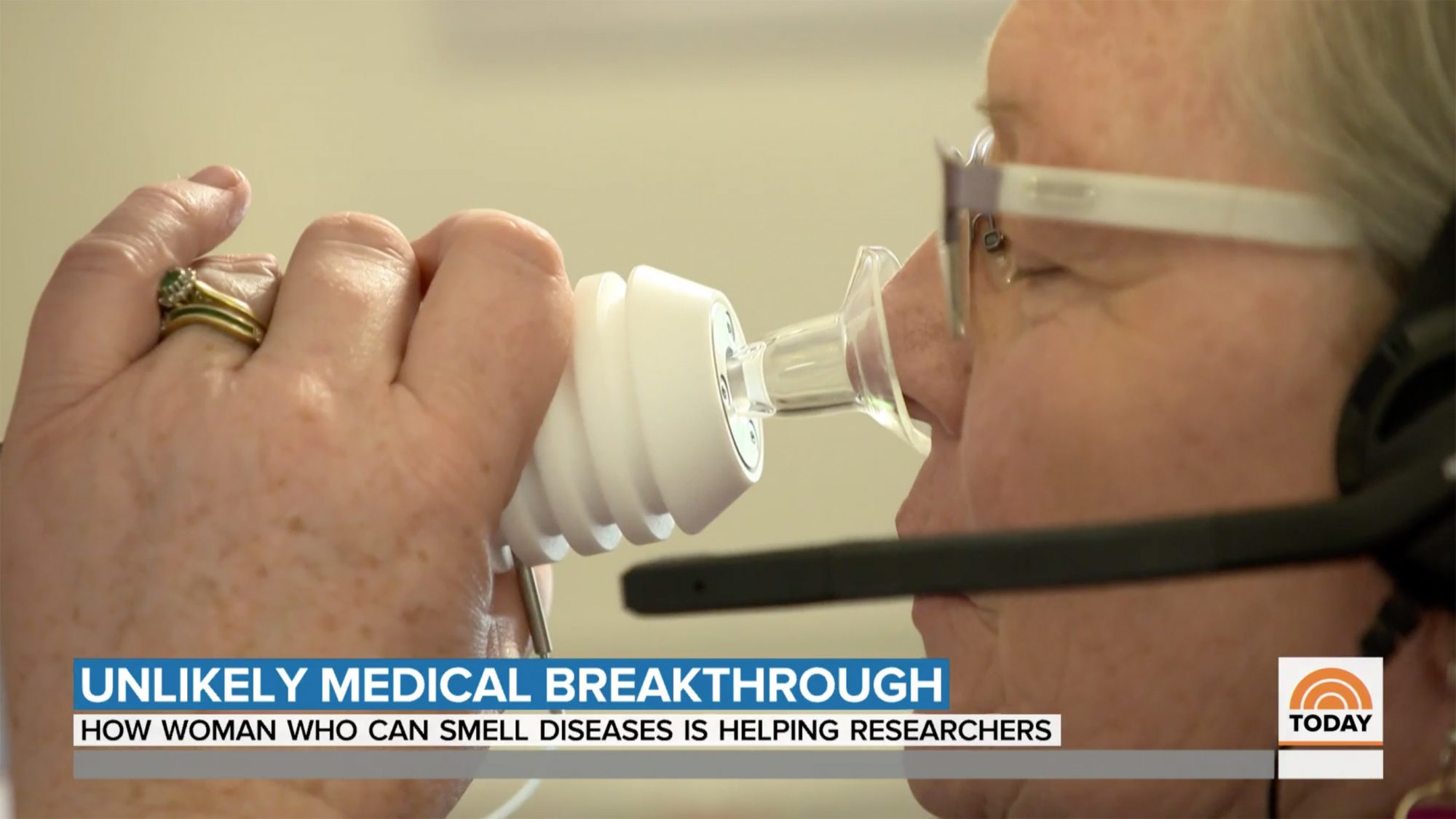 """The remarkable """"supersense"""" of Joy Milne, a grandmother from Scotland who detected her husband's Parkinson's disease by recognizing a change in his scent, has been the basis of a groundbreaking new test created by researchers. NBC's Kelly Cobiella reports for TODAY."""