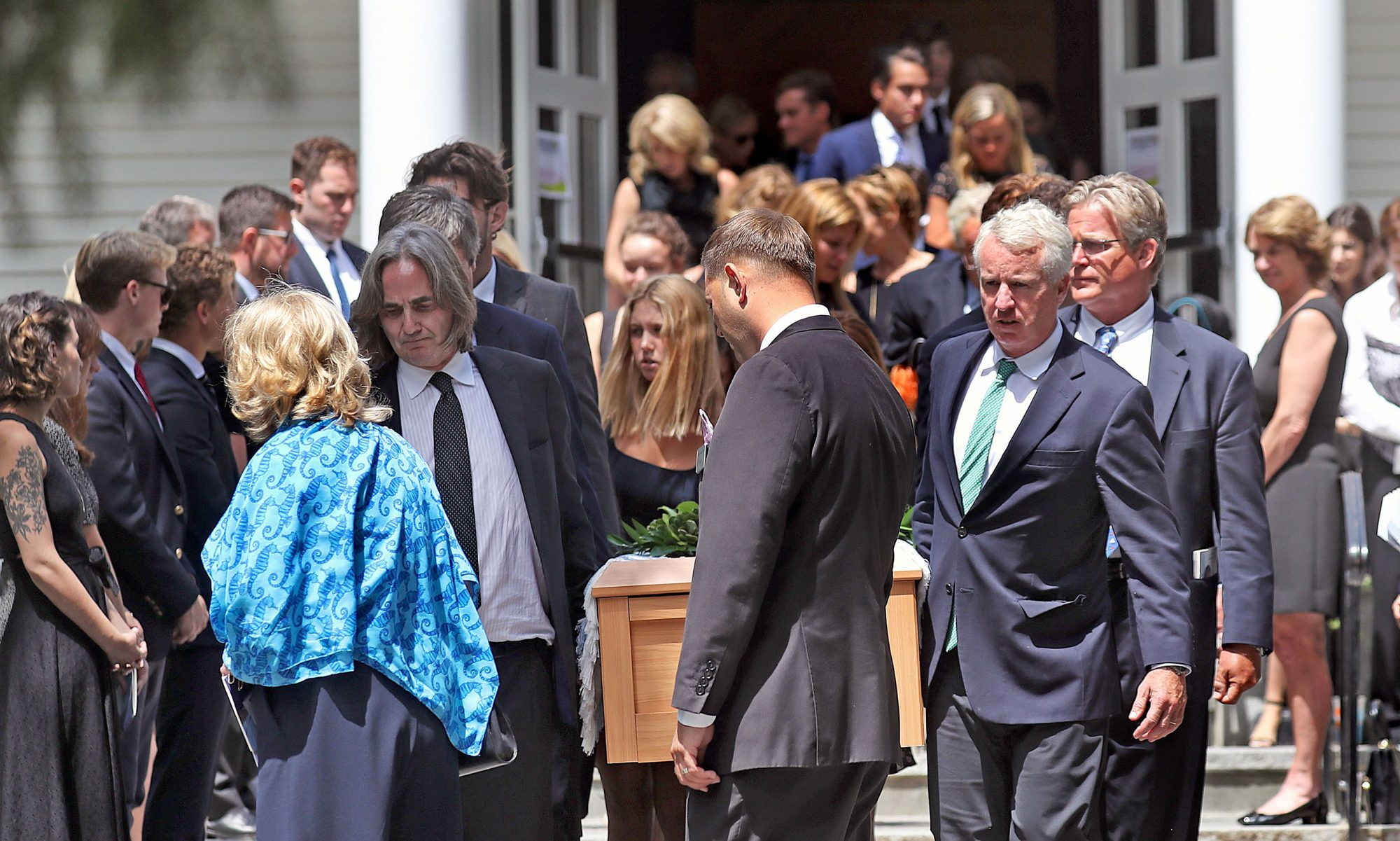 Courtney Kennedy Hill (L in blue) and Paul Michael Hill (in black tie facing carrying casket L) and other Kennedy family members carry the casket of Saoirse Roisin Kennedy Hill at Our Lady of Victory Church in Centerville, Massachusetts, USA, 05 August 2019