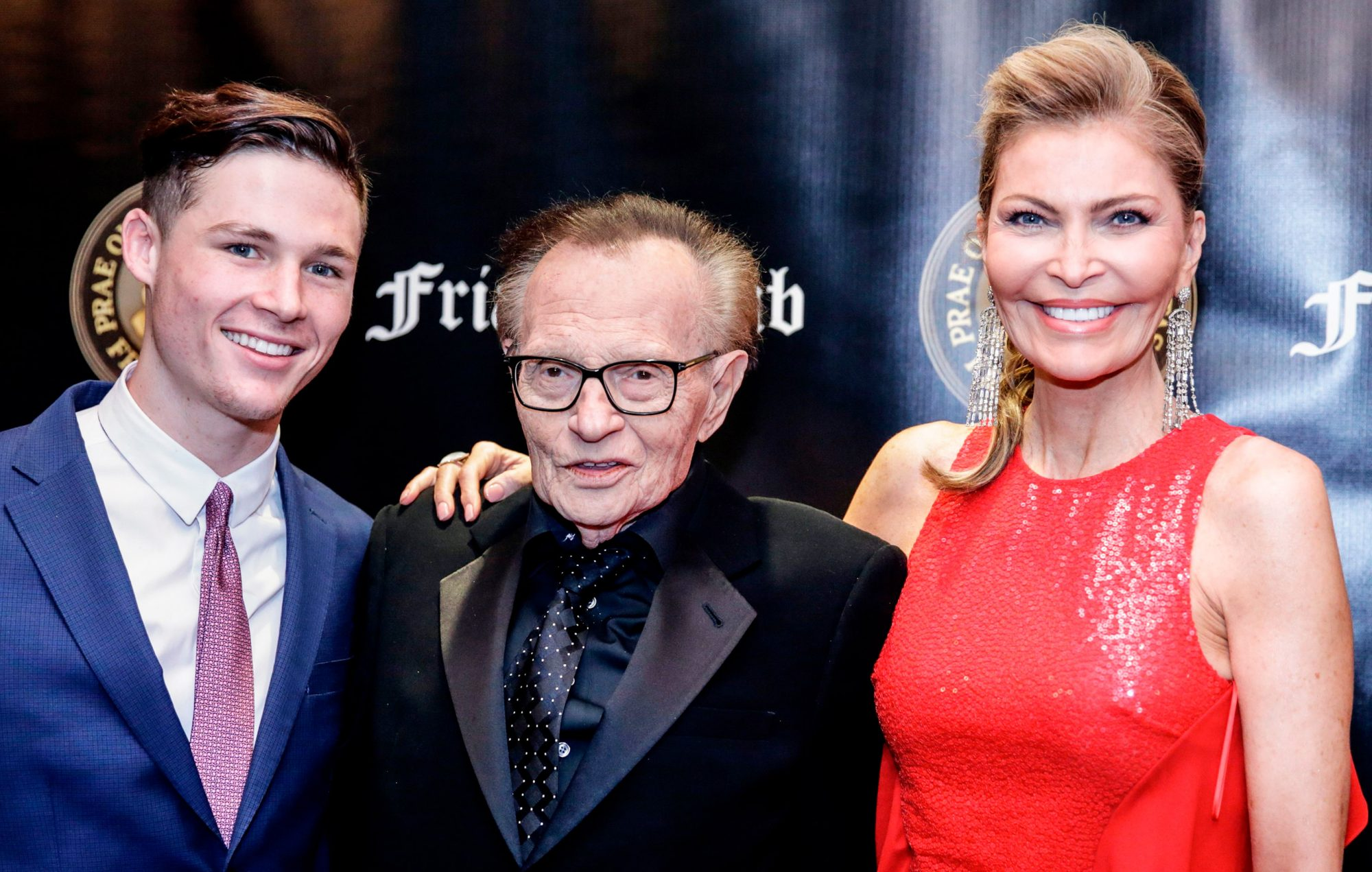 Larry King (C), his wife actress Shawn King and their son Cannon King