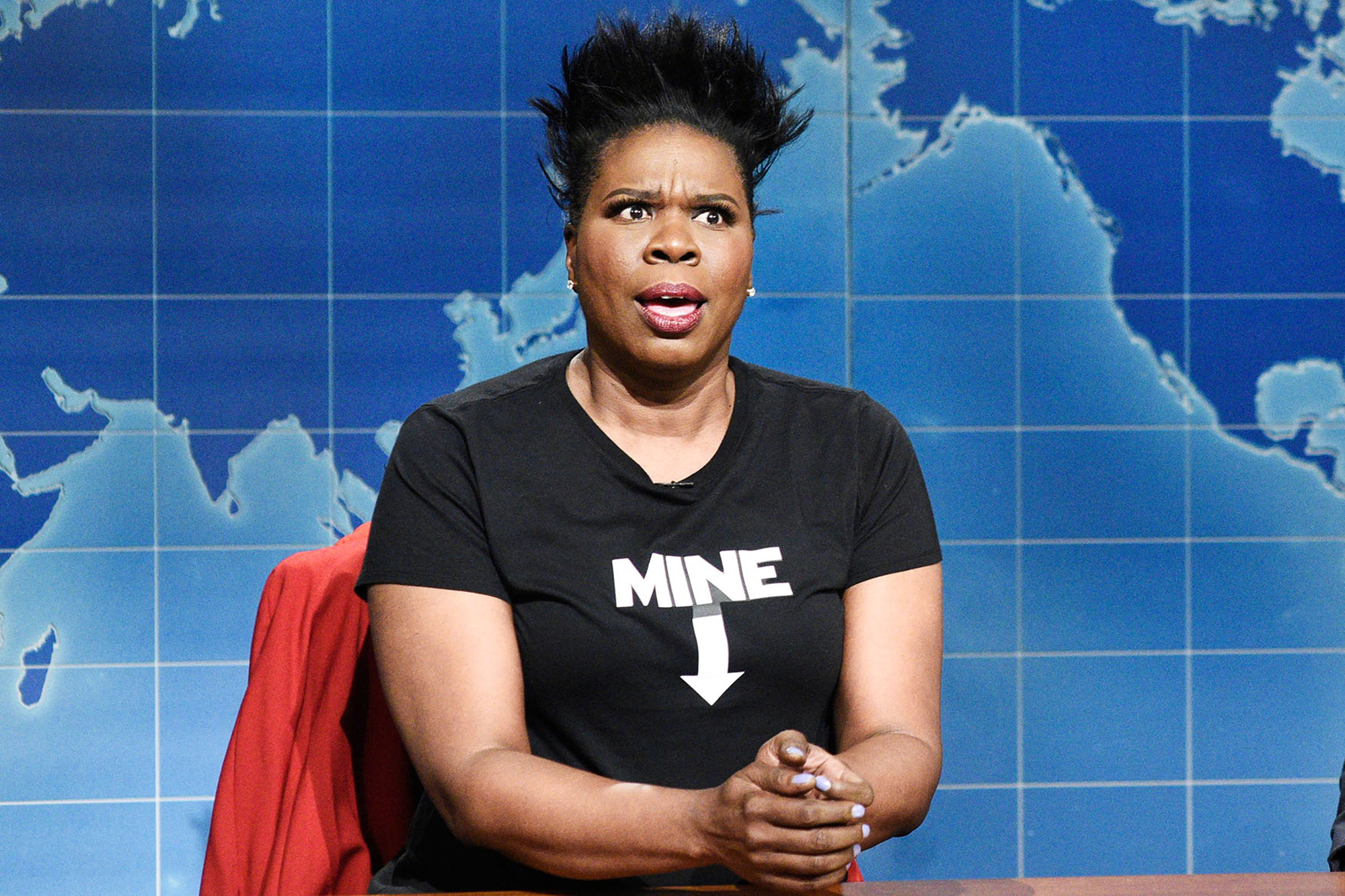 "SATURDAY NIGHT LIVE -- Episode 1767 -- Pictured: (l-r) Leslie Jones, Colin Jost during ""Weekend Update"" on May 18, 2019 -- (Photo by: Will Heath/NBC)"