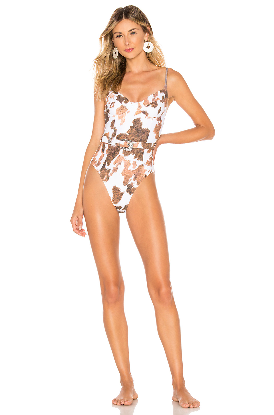 Onia x WeWoreWhat Danielle One Piece in Cowhide