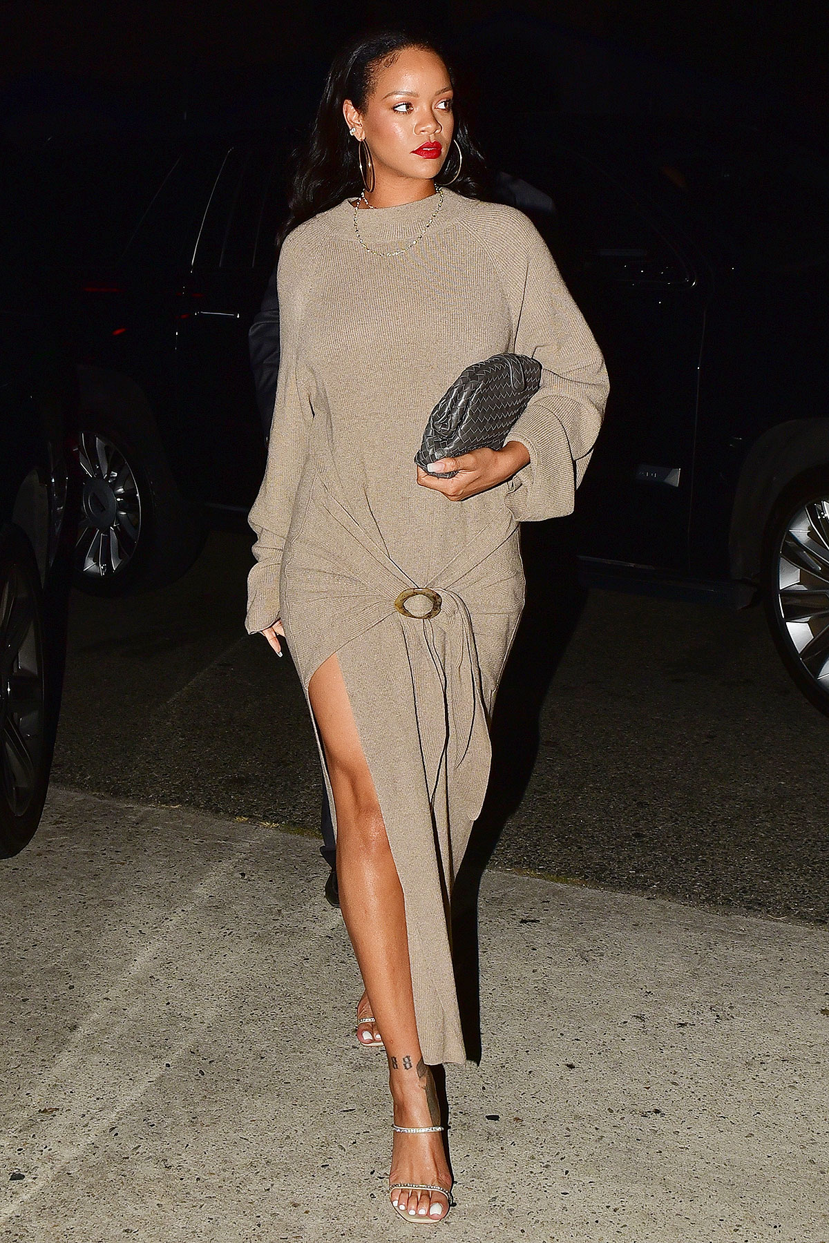 *EXCLUSIVE* Rihanna leaves Mason restaurant after having dinner with her mom