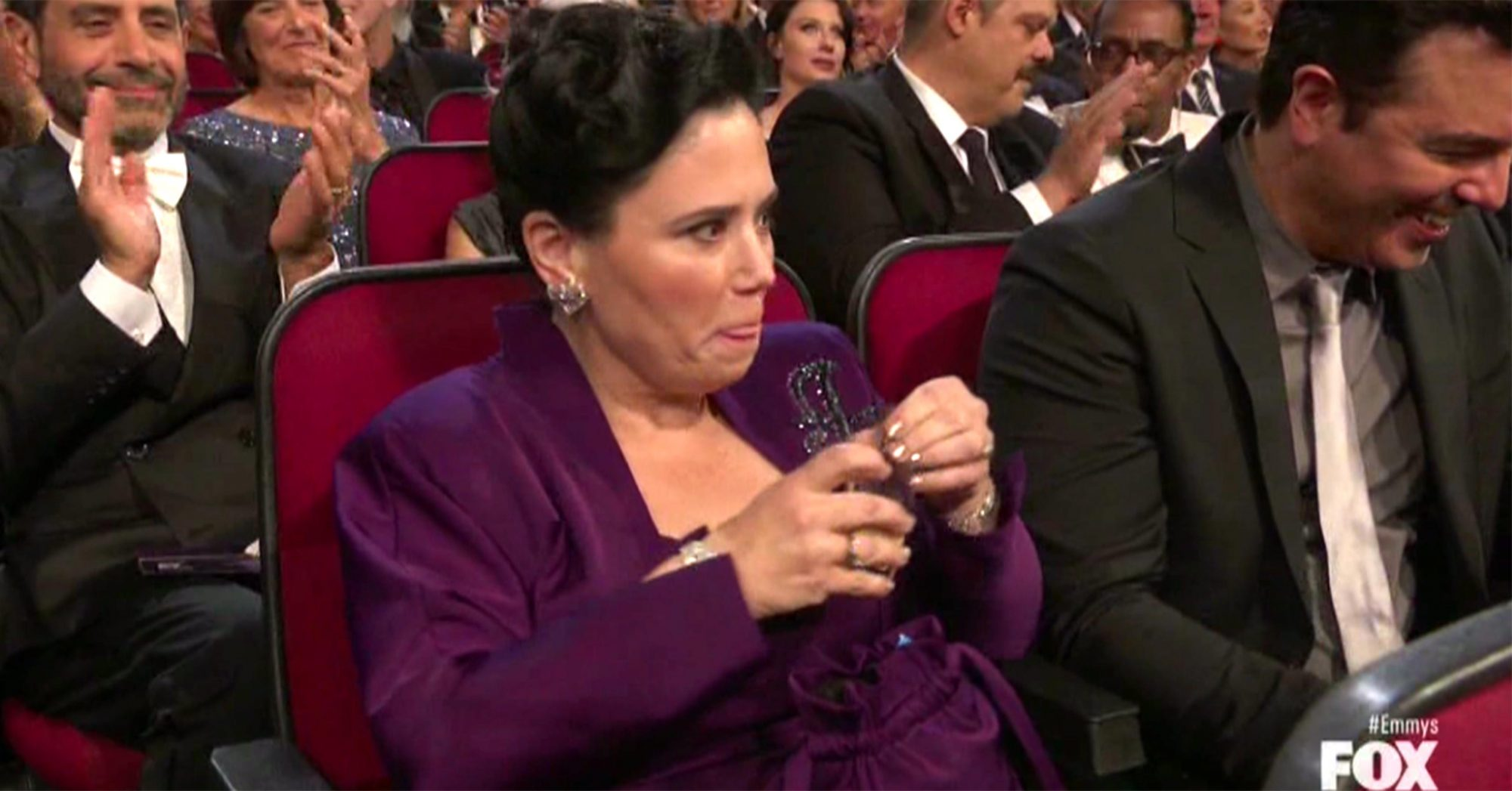 Alex Borstein accepts the Outstanding Supporting Actress in a Comedy Series award for 'The Marvelous Mrs. Maisel' onstage during the 71st Emmy Awards (screen grab) CR: FOX