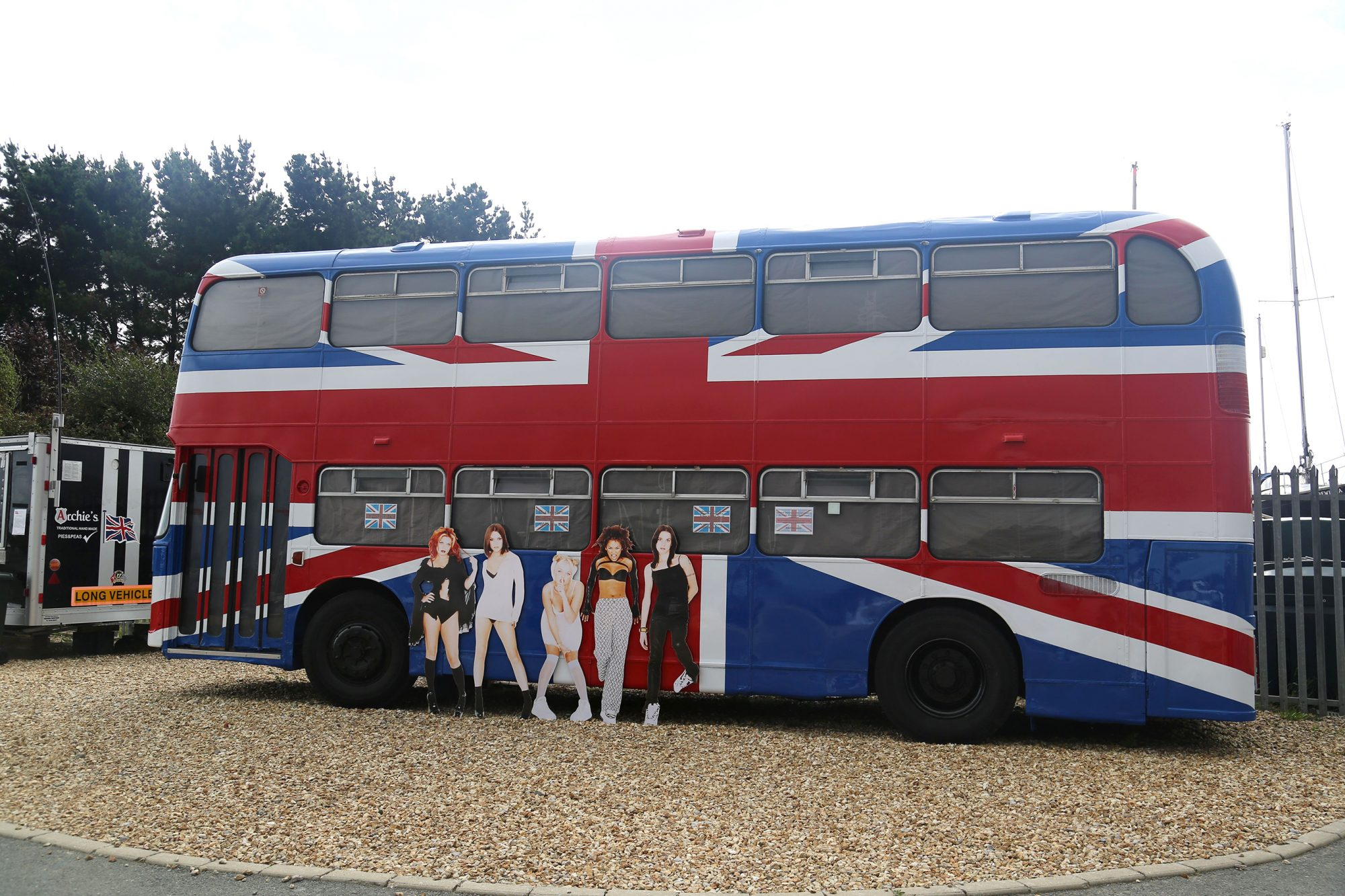 Bus used in Spice Girls movie on display at the Island Harbour Marina, Isle of Wight - 17 Aug 2014