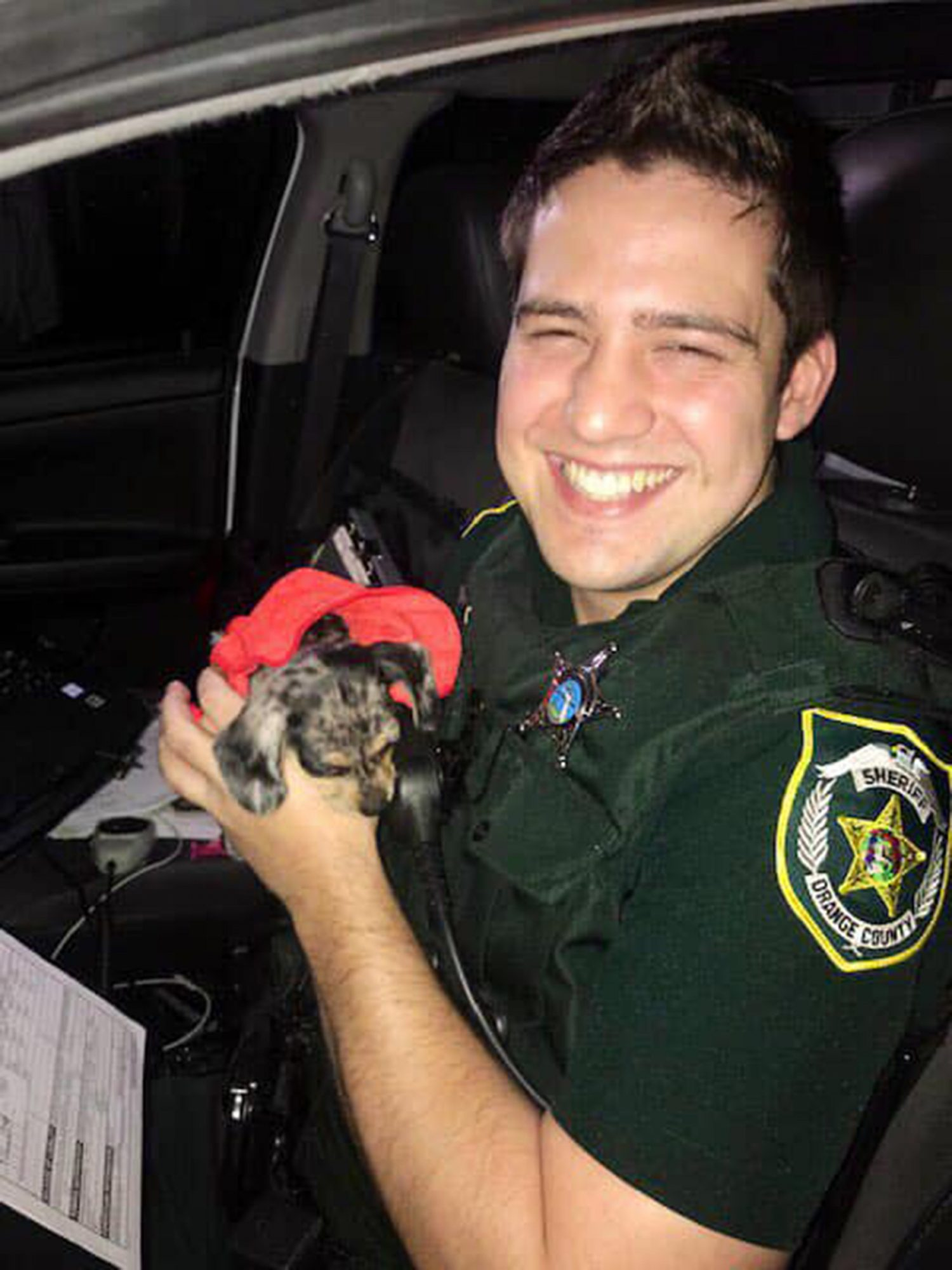Meet Dorian! While working the Hurricane, deputies responded to a suspicious vehicle, which was unoccupied and partially flooded. Deputy Josh Tolliver checked it out and found this puppy. Deputies named her Dorian. She was wet and scared but otherwise fine.