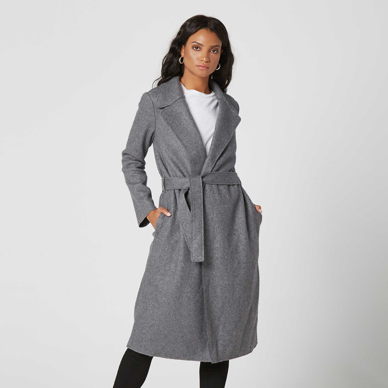 DSTLD Grey Wool Blanket Maxi Coat