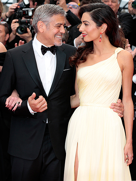"Jodie Foster, Amal Alamuddin, George Clooney, Julia Roberts, Caitriona Balfe attend the "" Money Monster"" red carpet during the 69th annual Cannes Film Festival. Pictured: George Clooney and Amal Picture by: Fernanda Bareggi / Splash News"