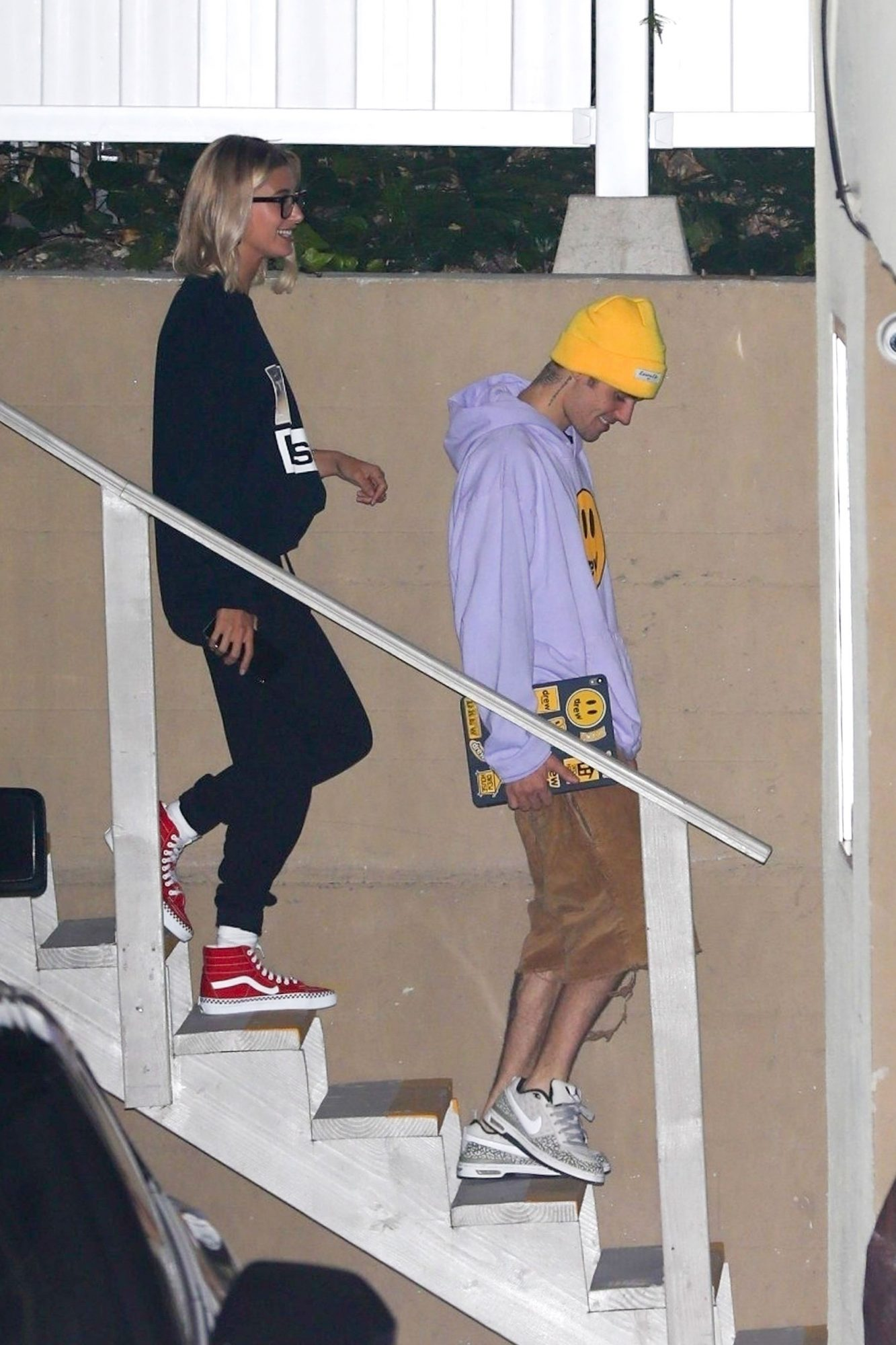 Justin Bieber and Hailey Baldwin-Bieber leave after a Wednesday church service in LA