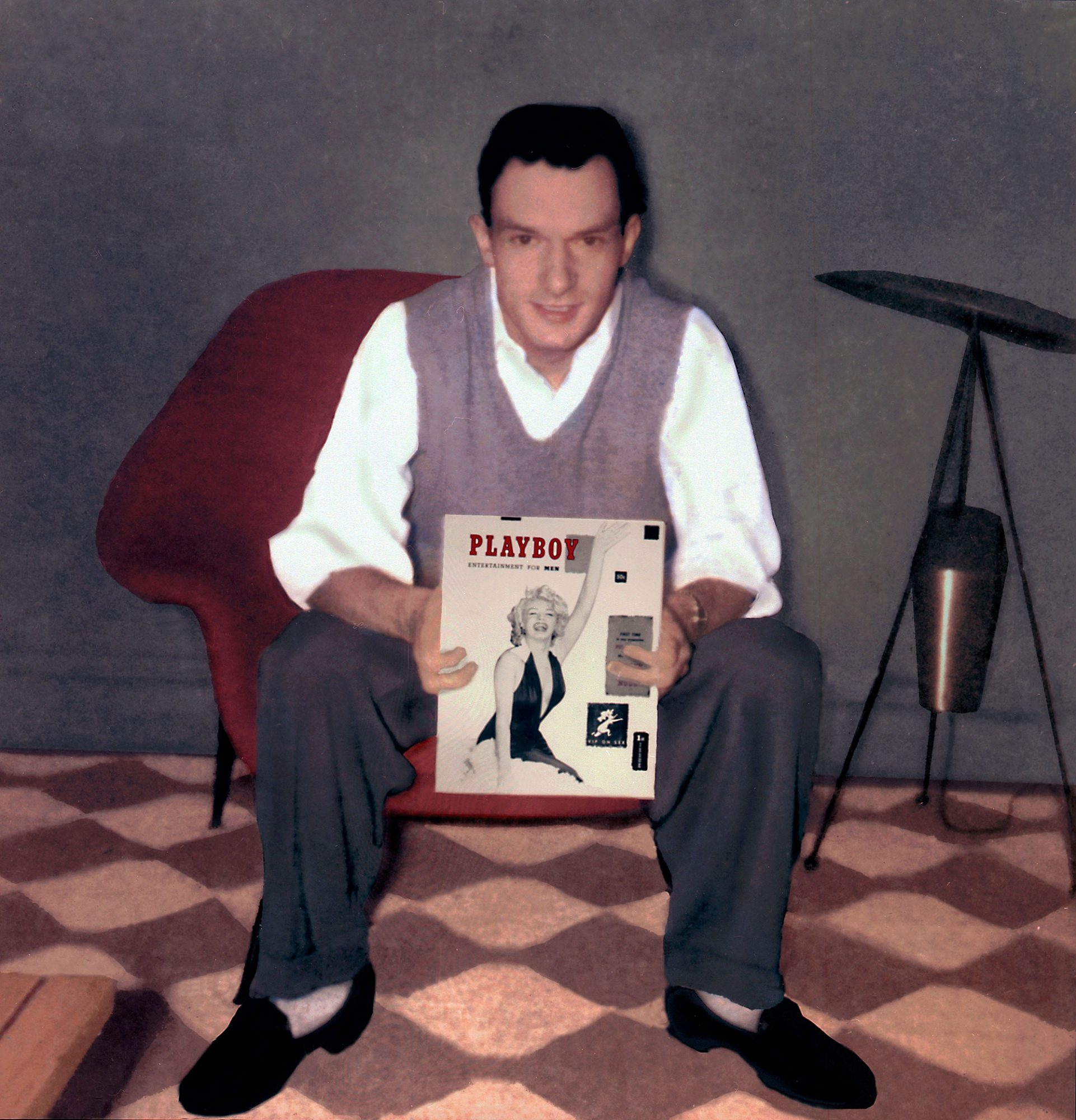 Hugh Hefner with first Playboy issue, 1953_credit Playboy
