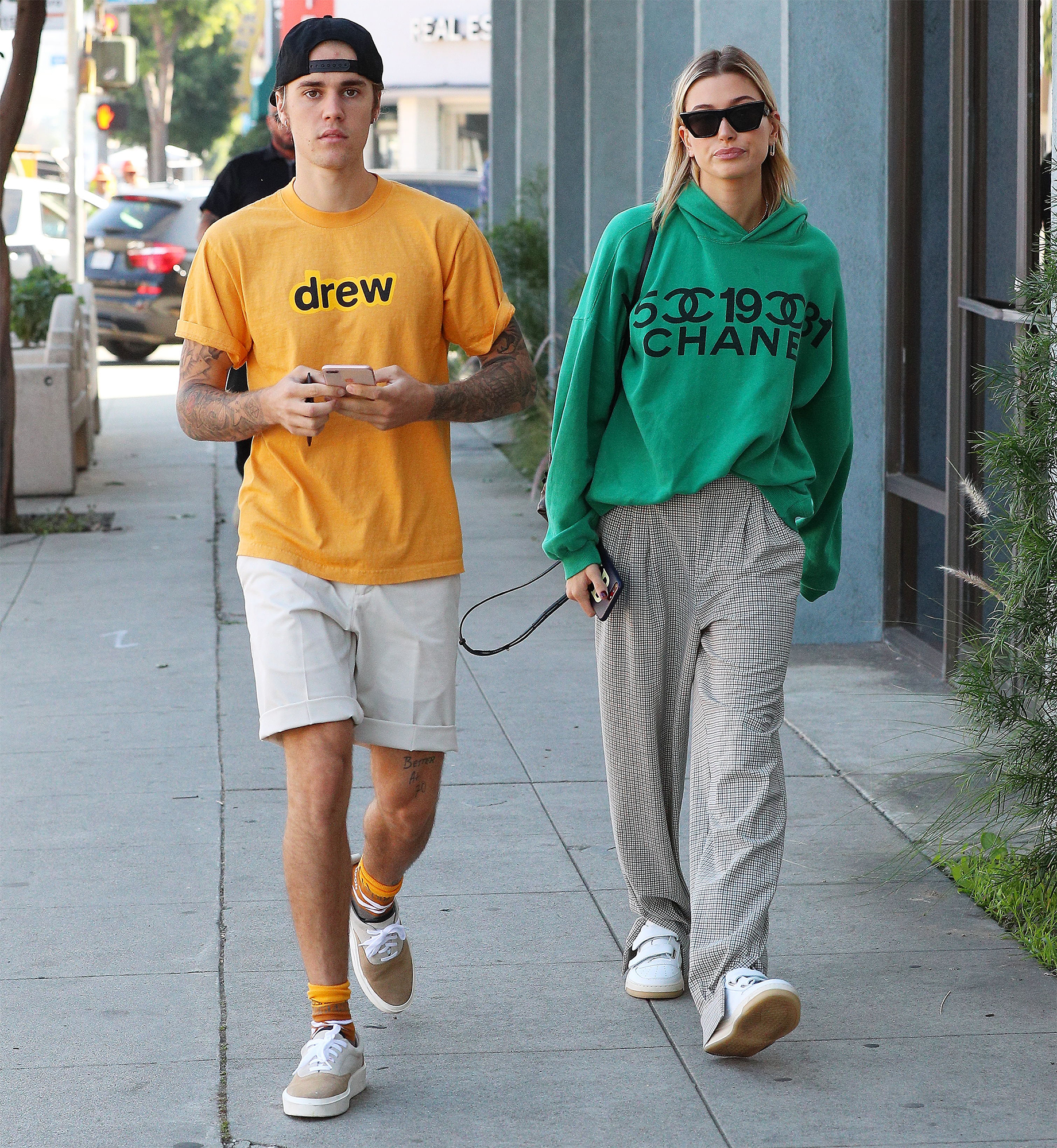 JUSTIN BIEBER has his hair styled while on an outing with hailey baldwin in Los Angeles, CA