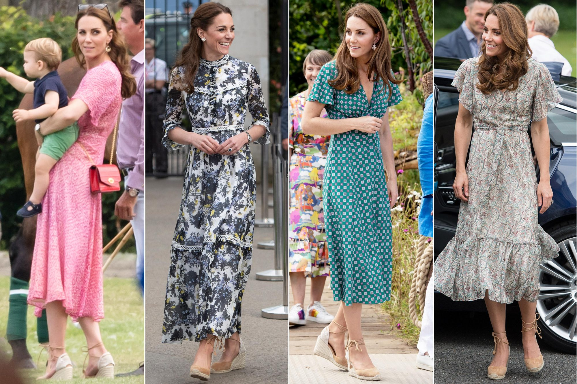 WOKINGHAM, ENGLAND - JULY 10: Catherine, Duchess of Cambridge and Prince Louis attend The King Power Royal Charity Polo Day at Billingbear Polo Club on July 10, 2019 in Wokingham, England. (Photo by Samir Hussein/WireImage) LONDON, ENGLAND - MAY 20: Catherine, Duchess of Cambridge and Prince William at the RHS Chelsea Flower Show 2019 press day at Chelsea Flower Show on May 20, 2019 in London, England. (Photo by Geoff Pugh - WPA Pool/Getty Images) LONDON, ENGLAND - JULY 01: Catherine, Duchess of Cambridge visits The RHS Back to Nature Garden she designed at the 2019 RHS Hampton Court Palace Flower Show at Hampton Court Palace on July 1, 2019 in London, England. (Photo by Mark Cuthbert/UK Press via Getty Images) KINGSTON, ENGLAND - JUNE 25: Catherine, Duchess of Cambridge joins a photography workshop for Action for Children, run by the Royal Photographic Society at Warren Park on June 25, 2019 in Kingston, England.HRH has today become Patron of The Royal Photographic Society. (Photo by Samir Hussein/WireImage)