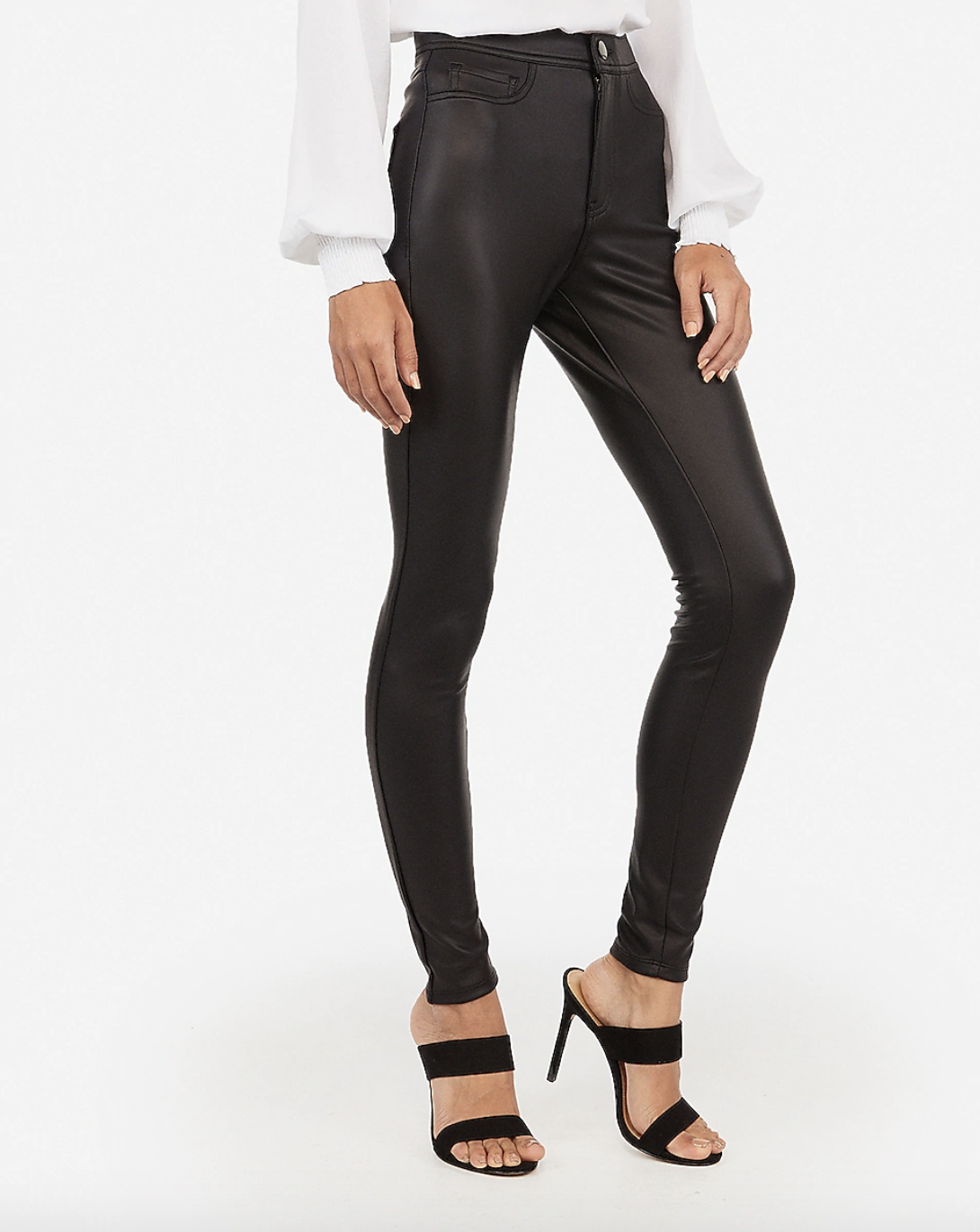 High Waisted (Minus The) Leather Five Pocket Pant from Express