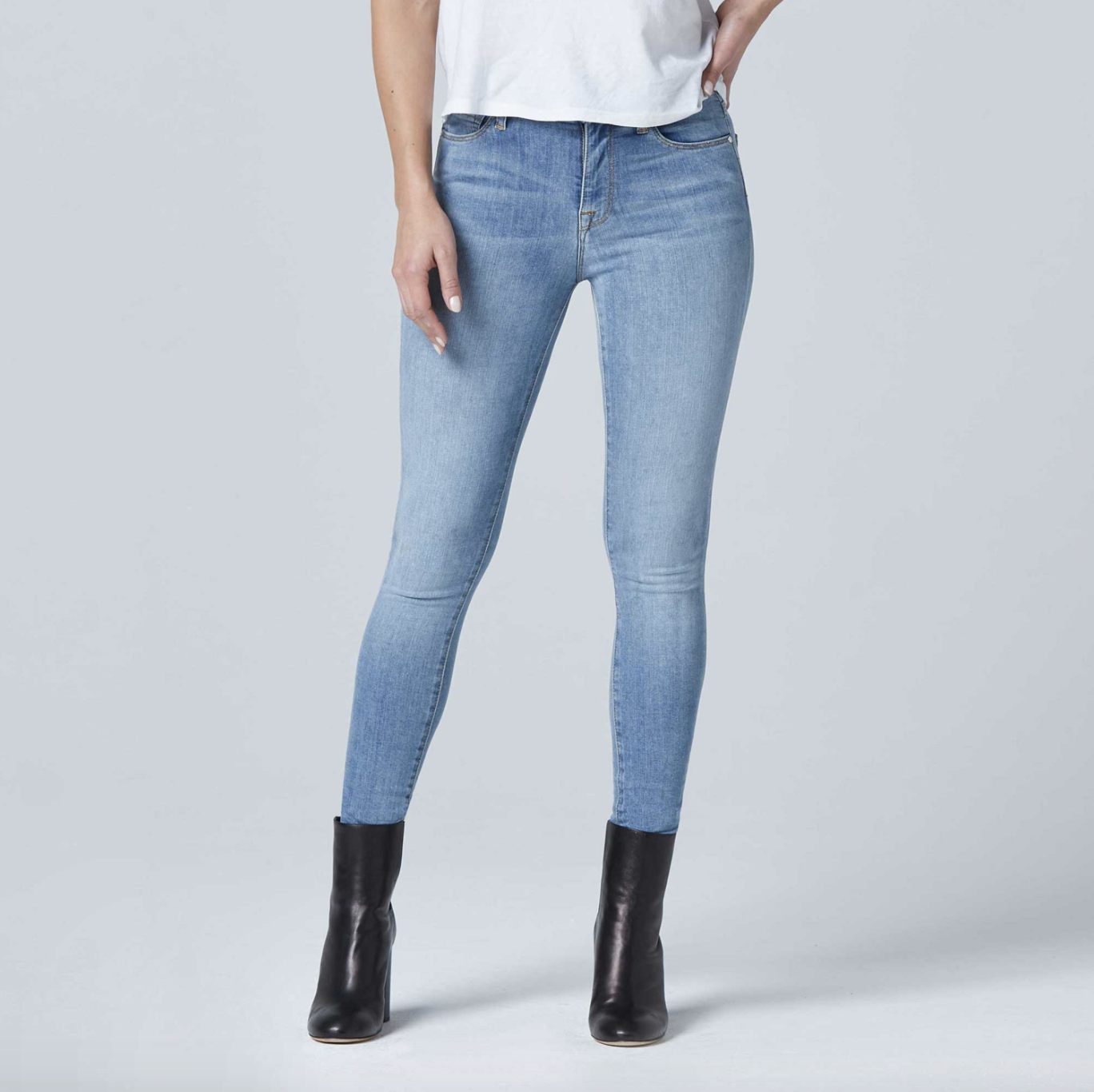 Womens High Rise Skinny Jeans in Light Indigo from DSTLD
