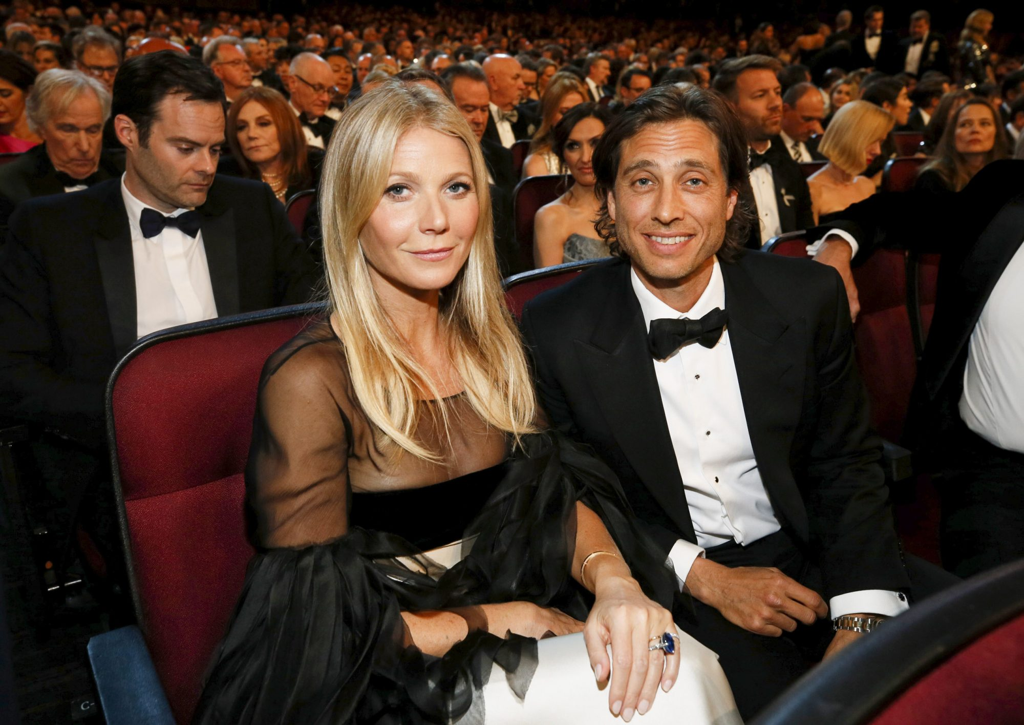 Gwyneth Paltrow, Brad Falchuk. Gwyneth Paltrow, left, and Brad Falchuk in the audience at the 71st Primetime Emmy Awards, at the Microsoft Theater in Los Angeles 71st Primetime Emmy Awards - Audience, Los Angeles, USA - 22 Sep 2019
