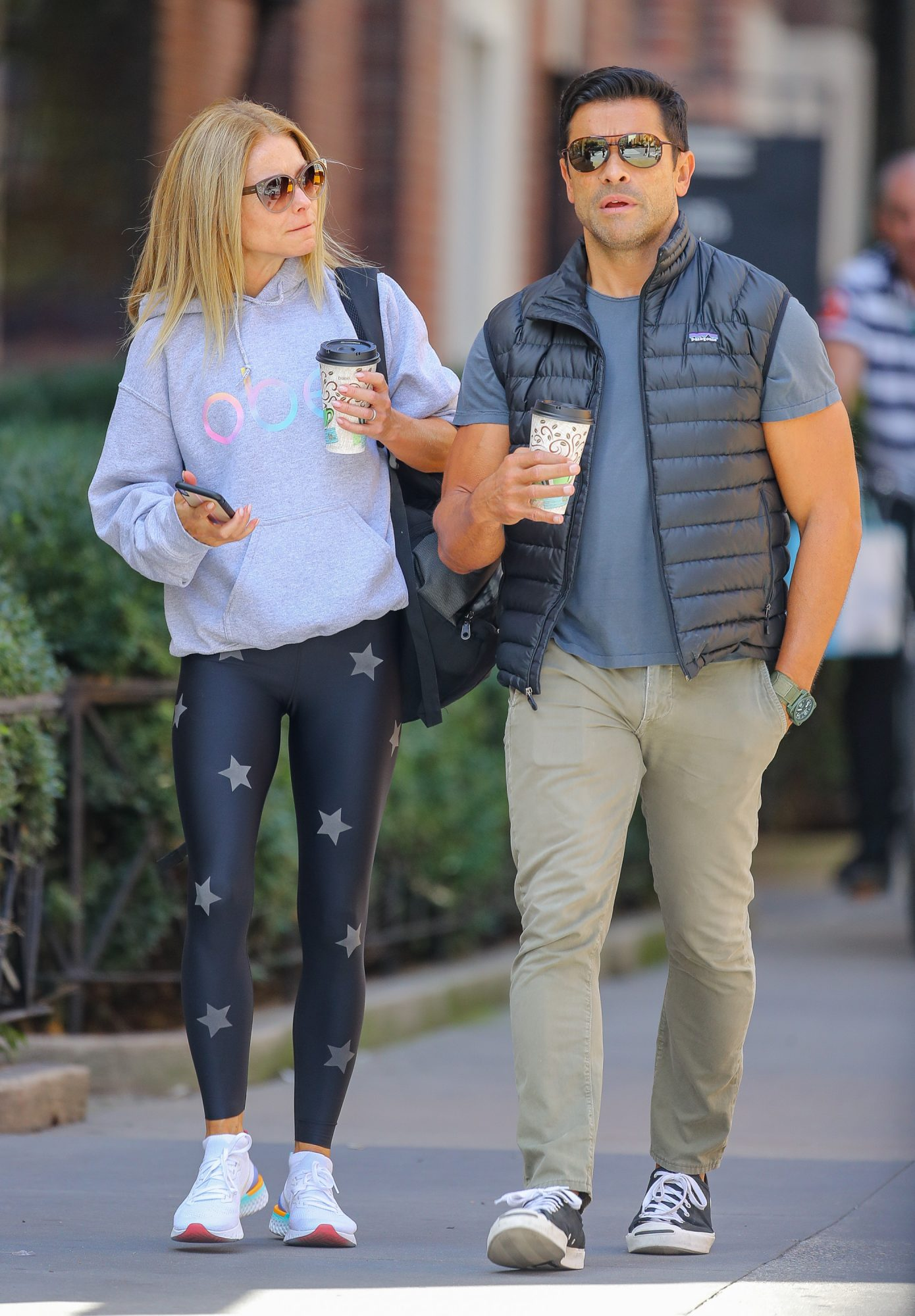 EXCLUSIVE: Kelly Ripa And Mark Consuelos Went For A Coffee Early This Morning While They Were Heading To The Gym In NYC