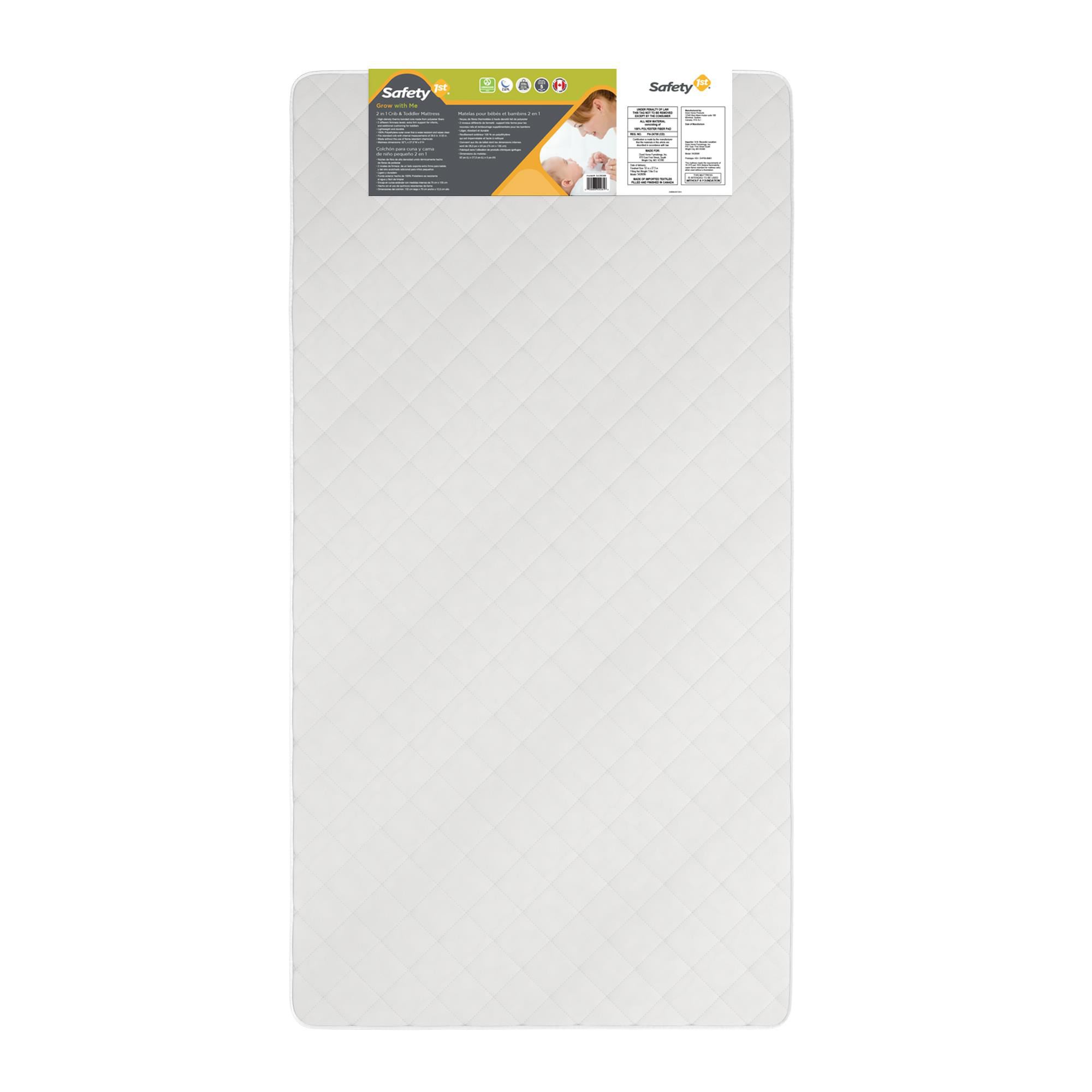 Safety 1st Grow with Me 2 in 1 Crib and Toddler Bed Mattress, White