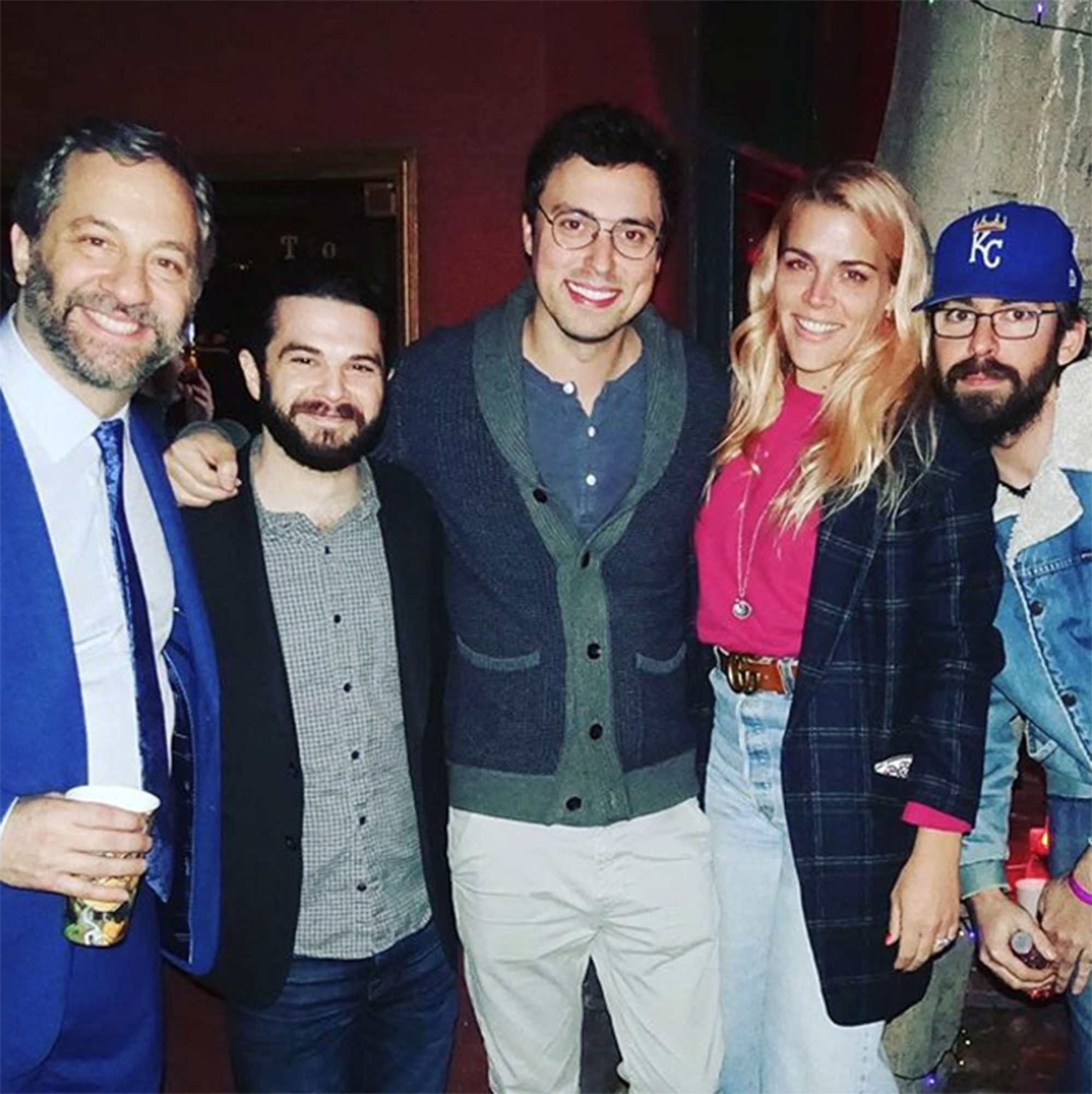 """They're not in Chippewa anymore: It's aFreaks and Geeks reunion in Los Angeles!Busy Philipps shared a group photo of her former cast members on Instagram one night after they all celebrated Freaks and Geeks'executive producer Judd Apatow's birthday.                             """"4 geeks and a freak. HAPPY BIRTHDAY JUDD! THANK YOU for giving us all the best job of all time when we were too young & dumb to know how good we had it,"""" Philipps captioned the picture of her with Apatow,John Francis Daley, Samm Levine and Martin Starr."""