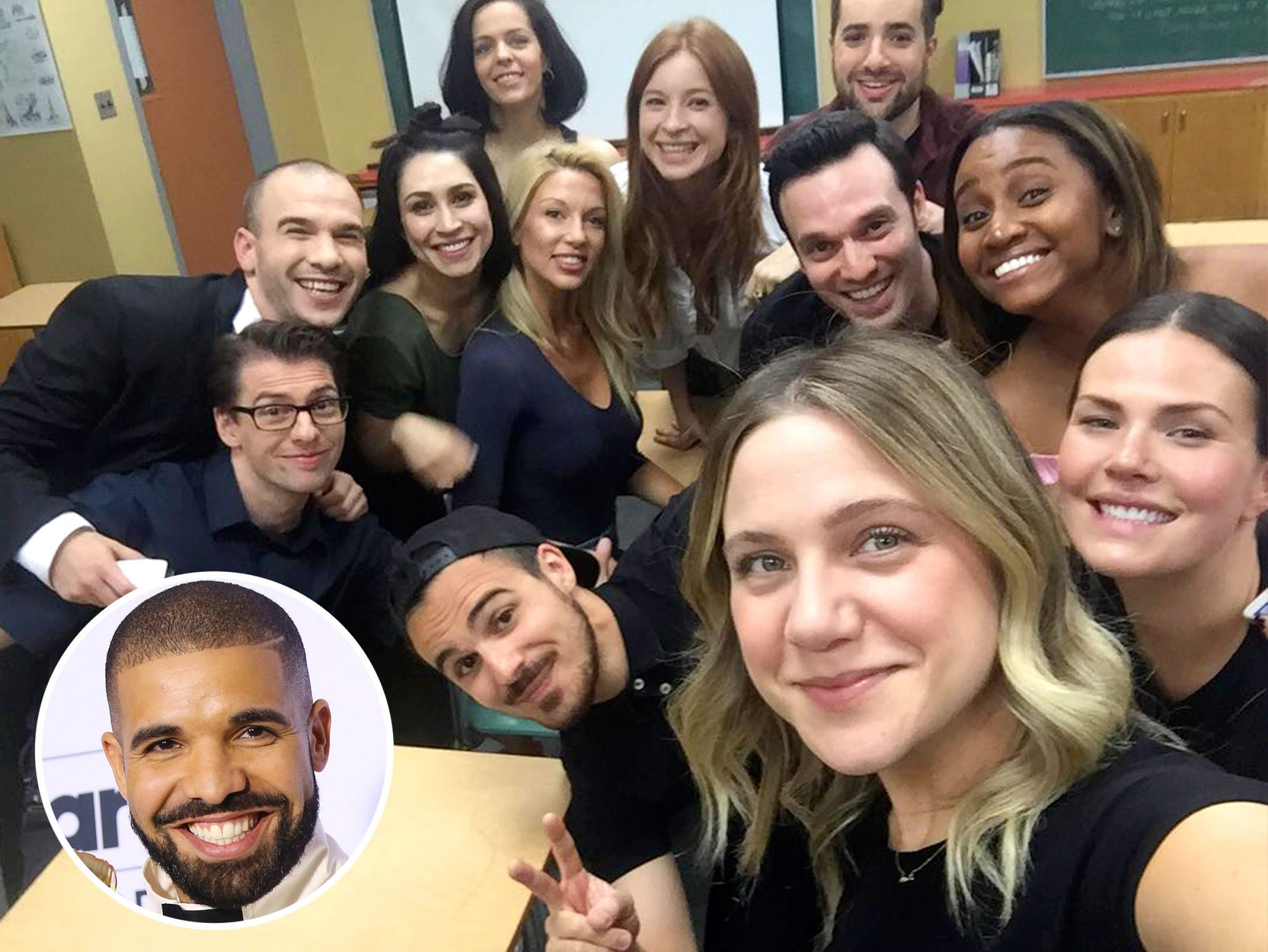 """Drake is the gift that keeps on giving. First, he handed out nearly $1 million in cash to strangers, schools and grocery store patrons in Miami for his """"God's Plan"""" music video. Now, he's given us the Degrassi reunion we didn't know we'd been waiting for in his new video, """"I'm Upset.""""                             The clip features Drake and his former faux classmates rolling up to theDegrassihalls for the class of 2007's eleventh reunion.The video ends with the show's catchy theme song, including new shots of the cast spliced with archive footage from the original show.                             Former co-star Lauren Collins, who played queen bee Paige Michalchuk on the show, shared a behind-the-scenes snap of the happy reunion on Instagram."""