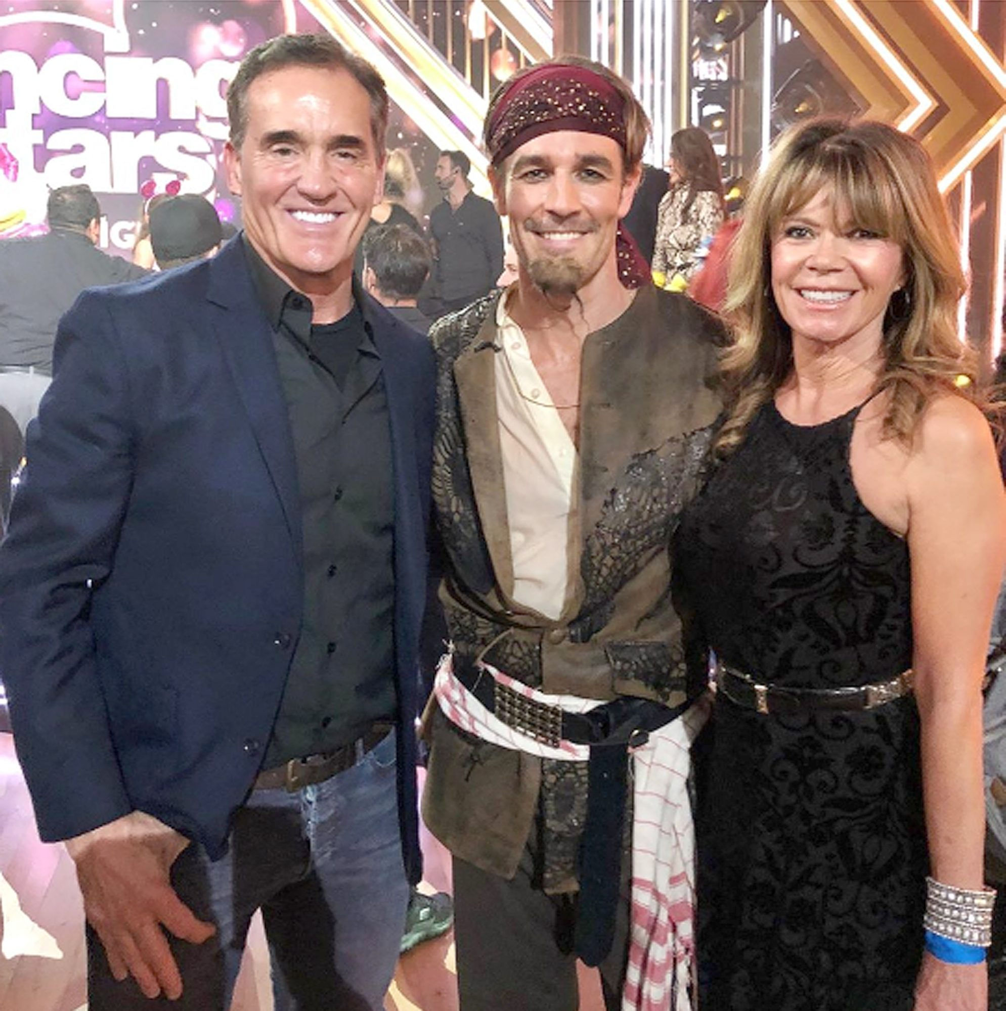 """Mary-Margaret Humes and John Wesley Shipp - who famously portrayed Gail and Mitch Leery, the parents to James Van Der Beek's Dawson Leery on the late '90s teen drama Dawson's Creek -were in the Los Angeles audience of Dancing with the Stars on Oct. 14, 2019, watching their TV son try his hand at the paso doble.                             """"So proud of this one right here!!!"""" the 65-year-old actress wrote on Instagram, captioning the sweet pic. """"Such an awesome night in the ballroom @dancingabc with @vanderjames ❤️.""""                             """"This is the first picture of the three of us together in 18 years!!!"""" she added, alongside the hashtags """"#dawsoncreek #dwts #foreverfriends #family is everything!!!"""""""