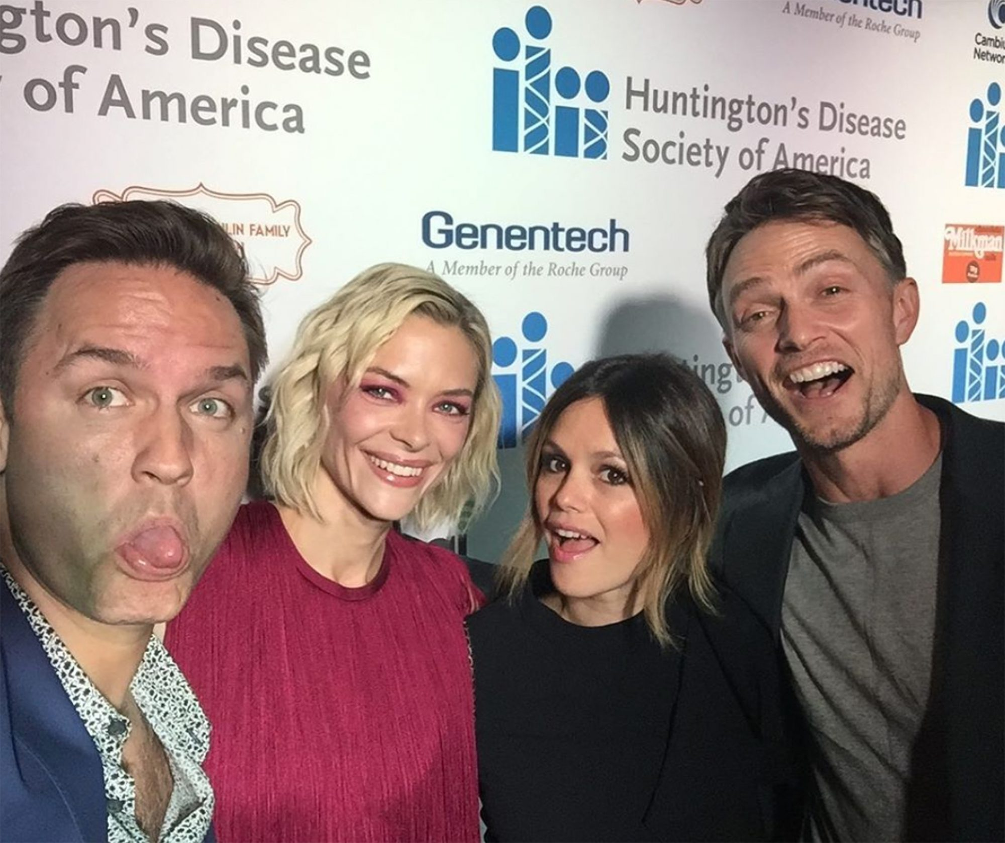 """Rachel Bilson, Jaime King, Wilson Bethel and Scott Porter reunited at a September 2019 event for the Huntington's Disease Society of America. """"Together for a cause #freezehd #reunited #longlivethehart,"""" Bilson wrote."""