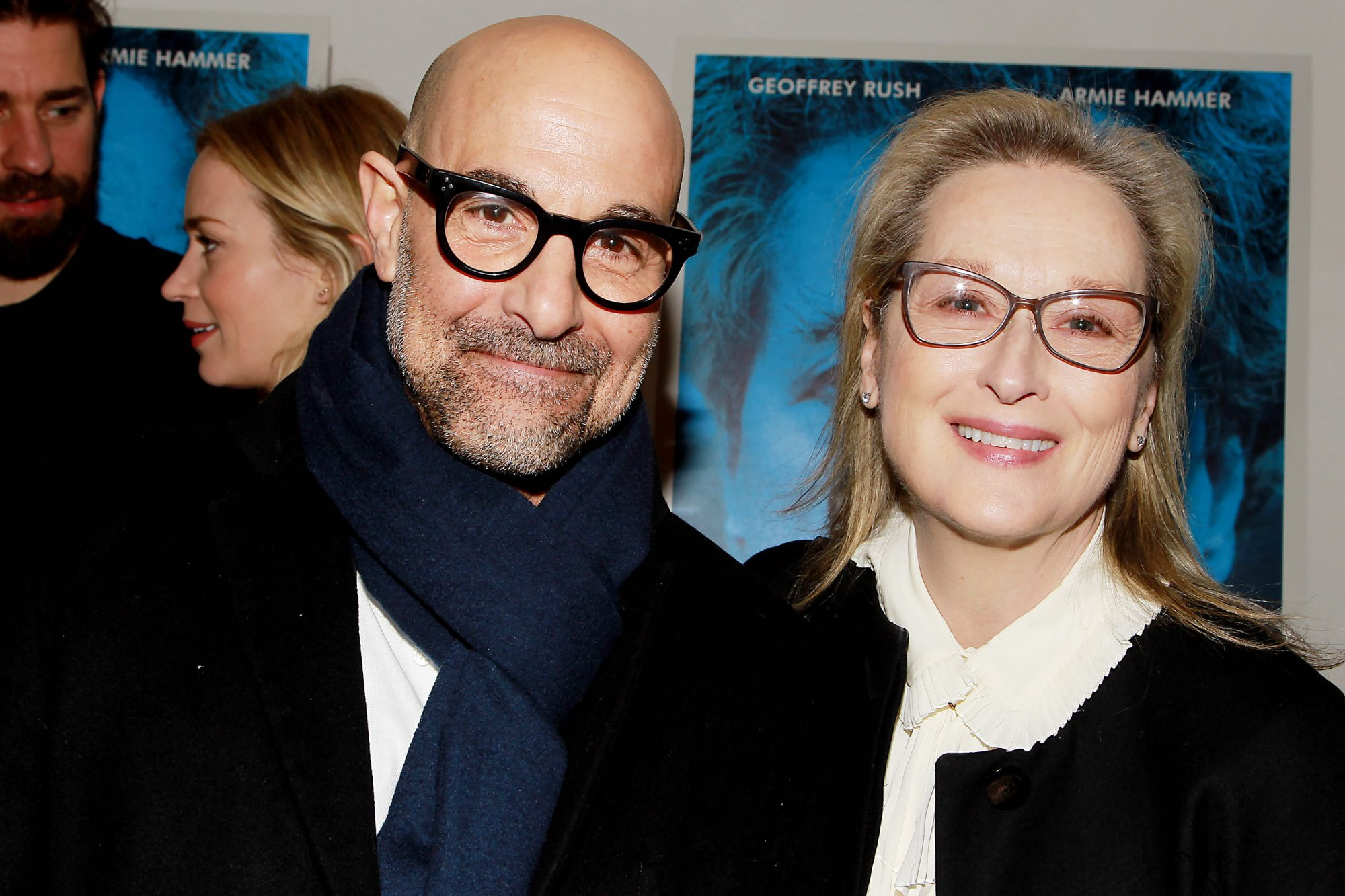 Although The Devil Wears Prada costars didn't pose all together at the March 2018 premiere of Tucci's film, Final Portrait, the director was spotted smiling alongside Streep- with whom he also starred in 2009'sJulie & Julia-and cozying up with Blunt.