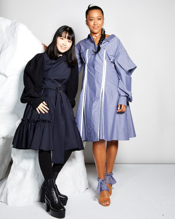 """The tennis star has two significant milestones to celebrate this week - her major win at the U.S. Open and the debut of her special collaboration with Adeam. The collab was originally Osaka's idea, who reached out to Adeam designer Hanako Maeda with the proposal. Together, they created a capsule that """"explores Japanese heritage"""" through origami-like drapes combined with Harajuku girl """"kawaii"""" elements.                             The line consists of feminine dresses, structural blouses, shorts and knit sweaters and tanks and is available to shop now.                             Buy It! Adeam x Naomi Osaka Pinstripe Tokyo Shirt Dress, $875; adeam.com"""