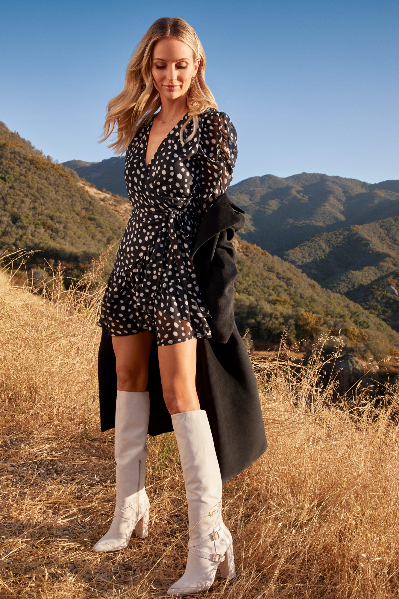 Buy It!                             Puff sleeve polka-dot wrap dress, $62.95; justfab.com                             Belted oversize wool coat, $99.95;justfab.com                             All or Nothing tall heeled boot, $64.95; justfab.com
