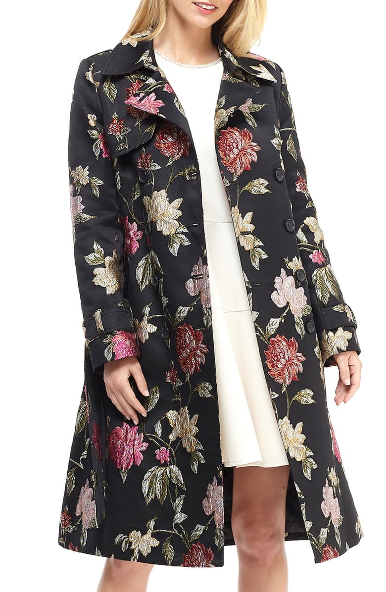 Gal Meets Glam Collection Dominique Floral Jacquard Trench Coat at Nordstrom