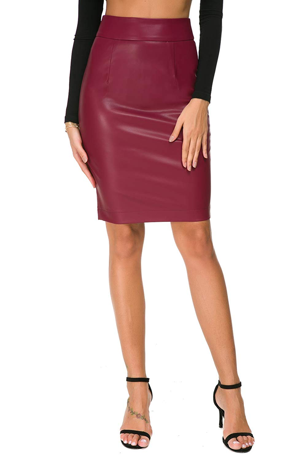 Nasperee Women Faux Leather Pencil Midi Skirt Slim Fit High Waist Knee Length Office Bodycon Skirts