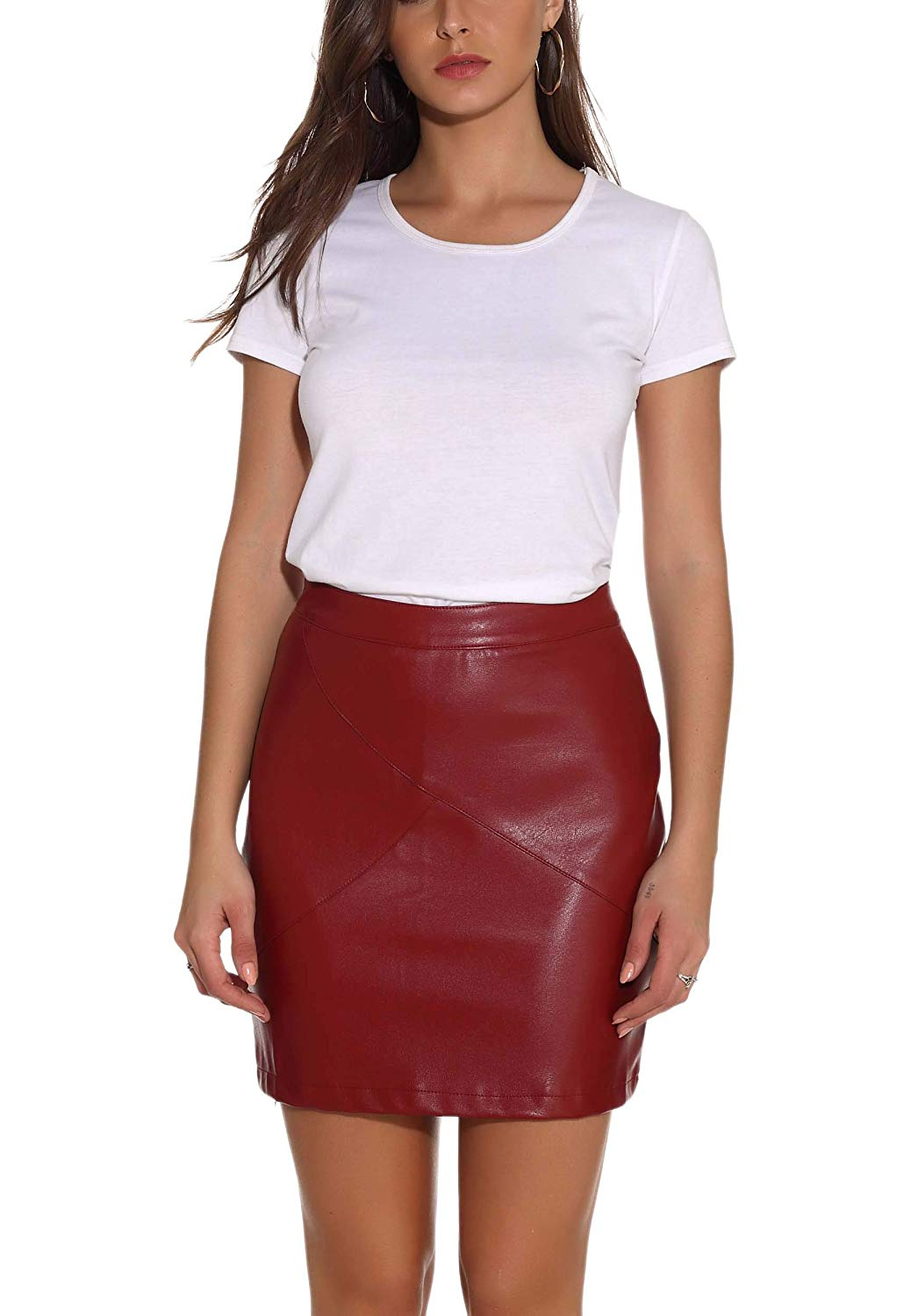 GUANYY Women's Faux Leather Vintage High Waist Classic Slim Mini Pencil Skirt AMAZON