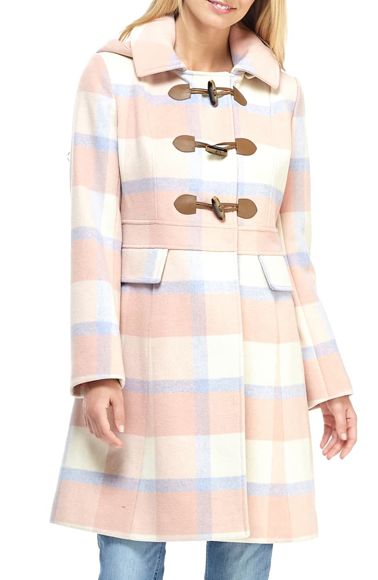 Gal Meets Glam Collection Annelise Plaid Hooded Coat at Nordstrom