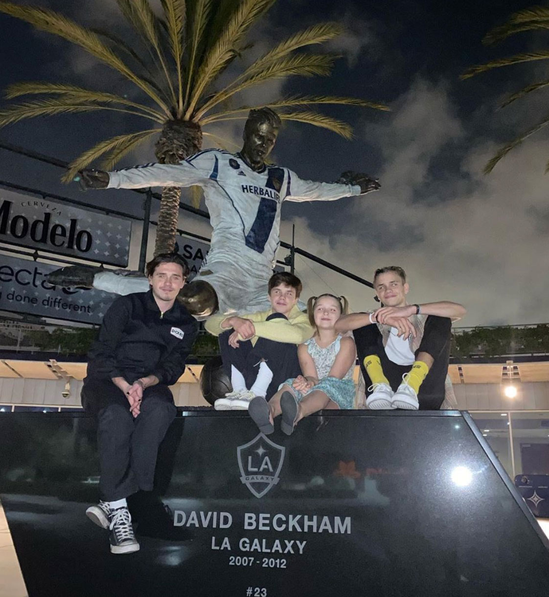 David Beckham and family at LA Galaxy statue