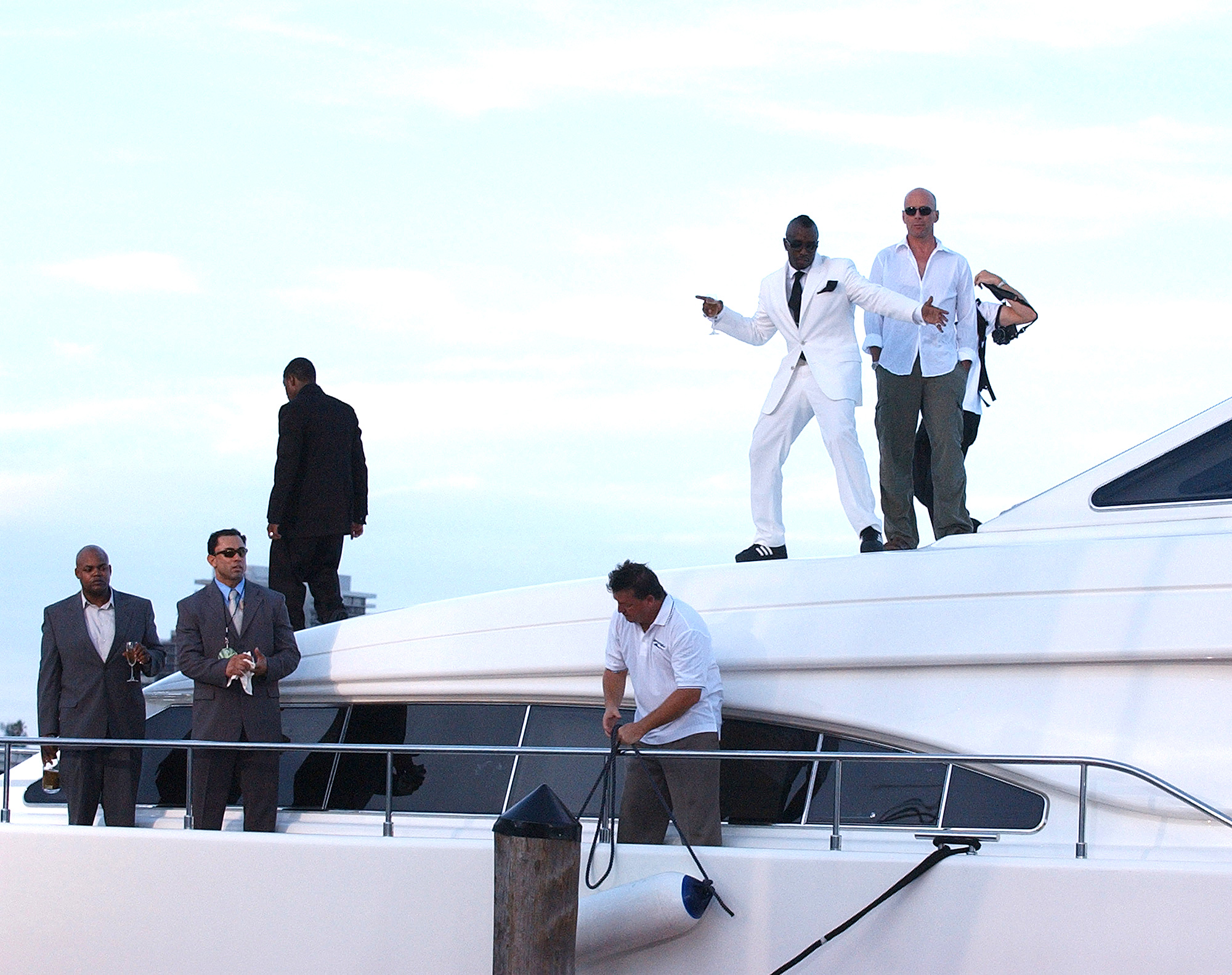 Mase, Sean P. Diddy Combs and Bruce Willis
