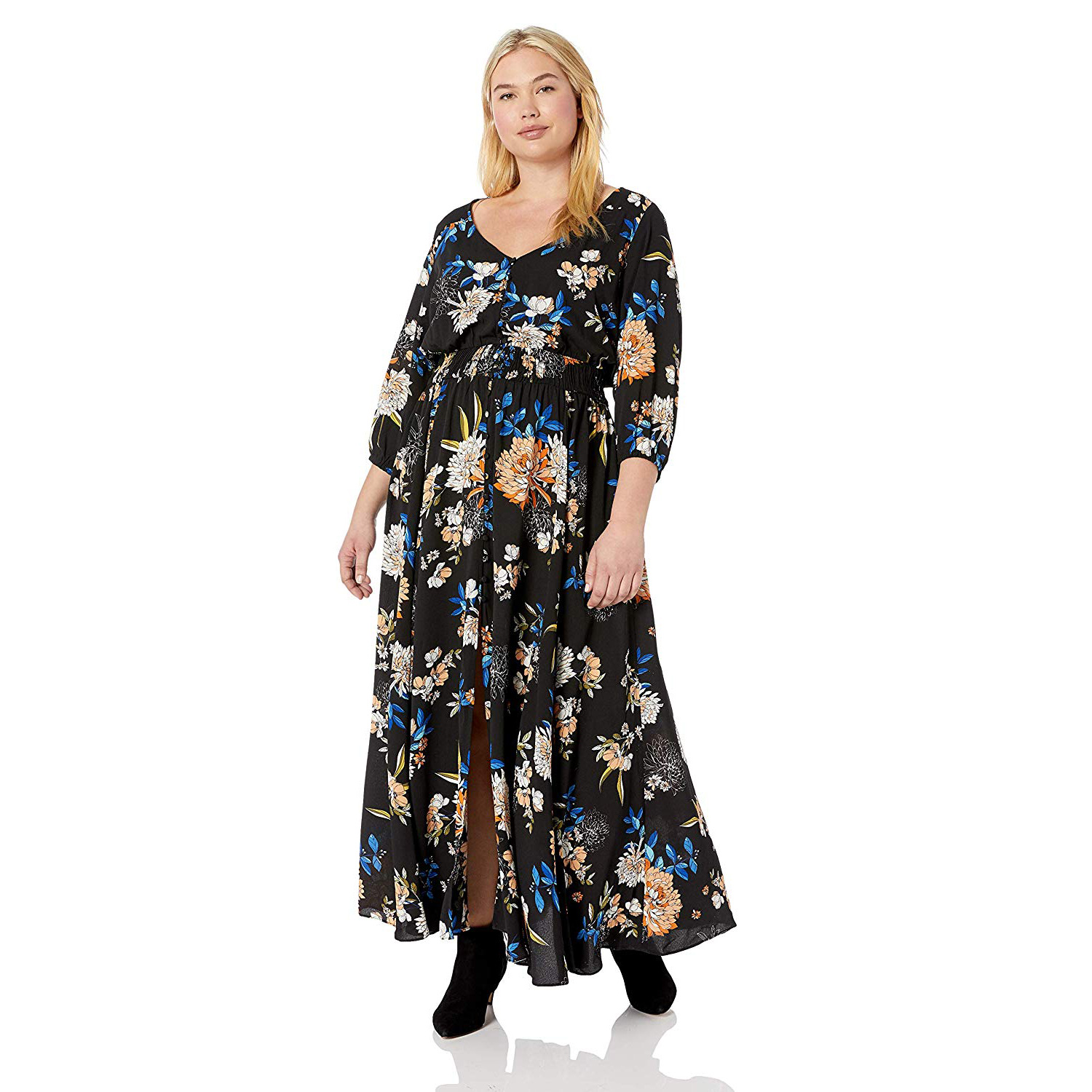 Amazon Fall Dresses Women City Chic Women's Apparel Women's Plus Size 3/4 Sleeve Printed Maxi Dress