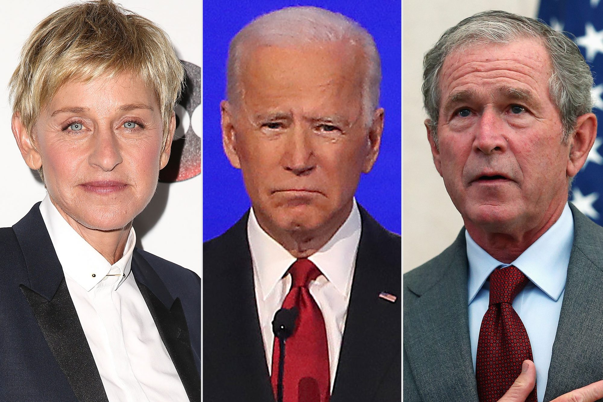 Ellen DeGeneres, Joe Biden, George W. Bush