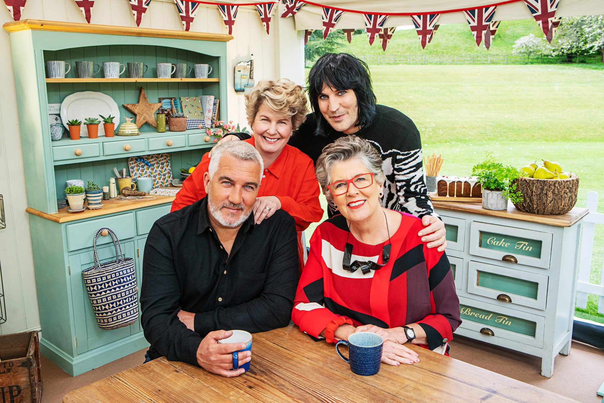 The Great British Bake Off Paul, Sandi, Noel and Prue.
